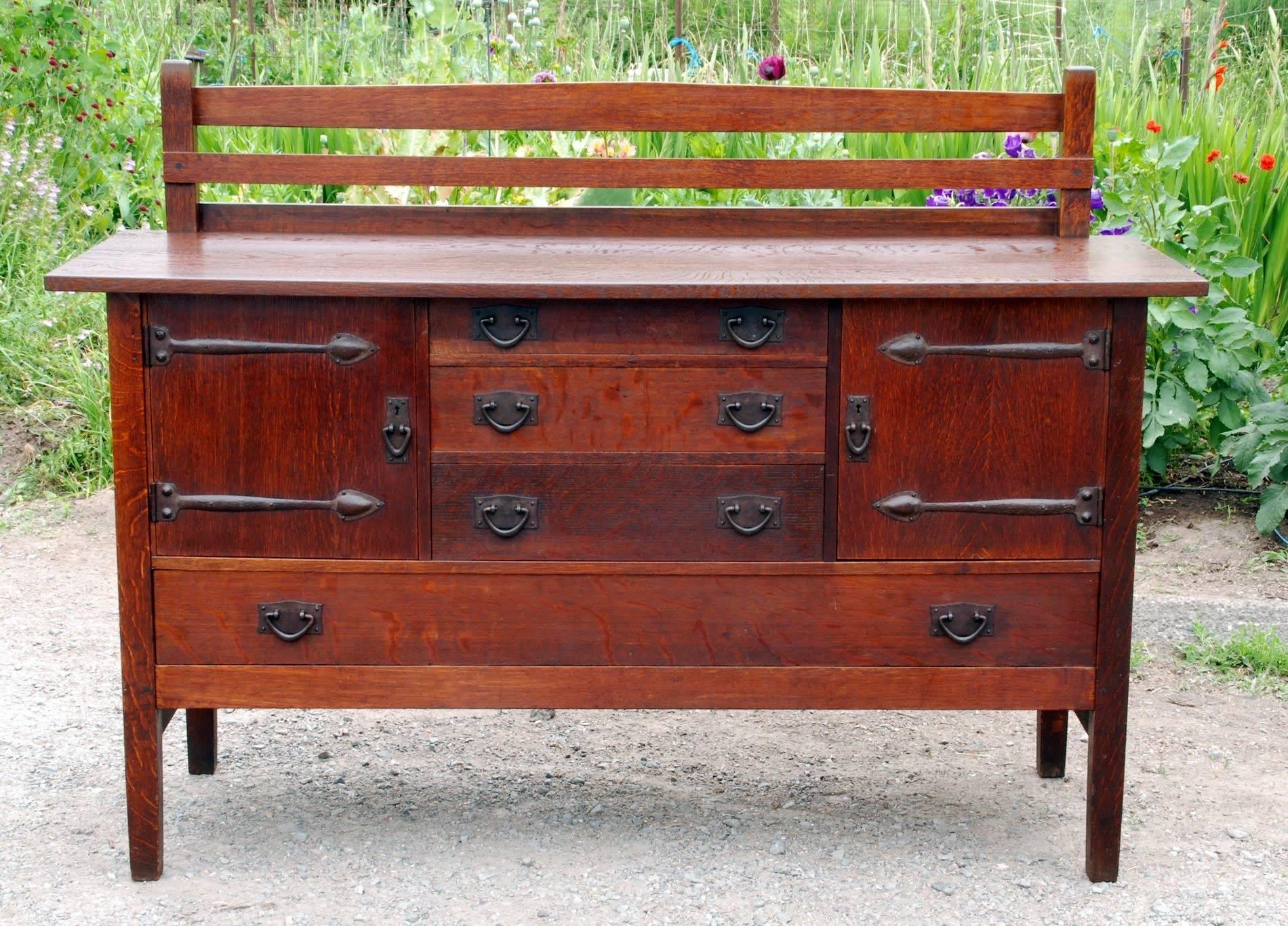 Voorhees Craftsman Mission Oak Furniture - Original Gustav for Stickley Sideboards (Image 15 of 15)