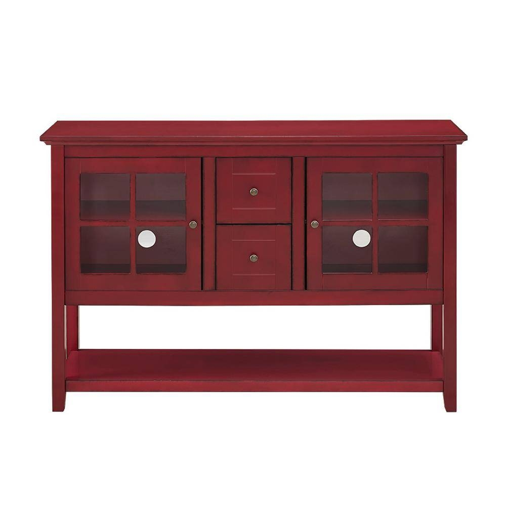 Walker Edison Furniture Company Antique Red Buffet With Storage In Sideboards And Buffets (View 4 of 15)
