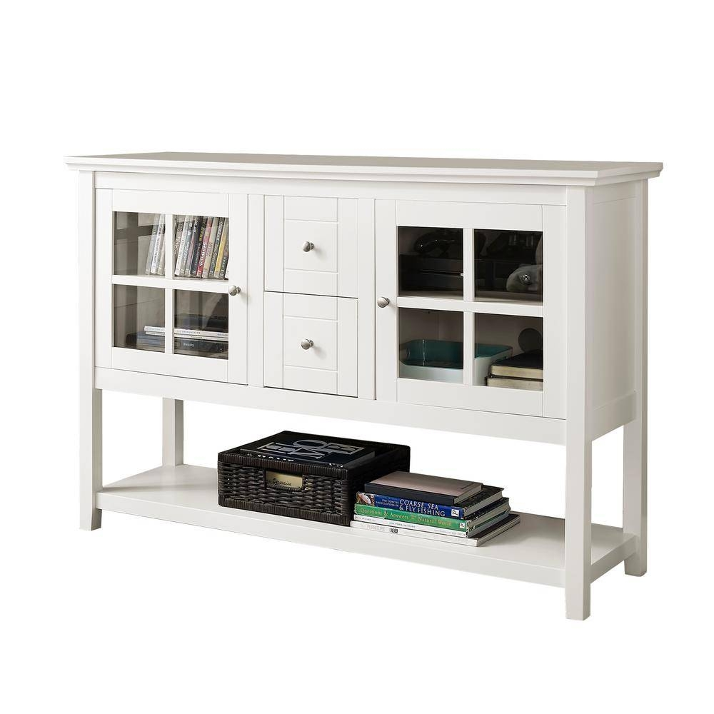 Walker Edison Furniture Company White Buffet With Storage Regarding White Sideboard Tables (View 14 of 15)