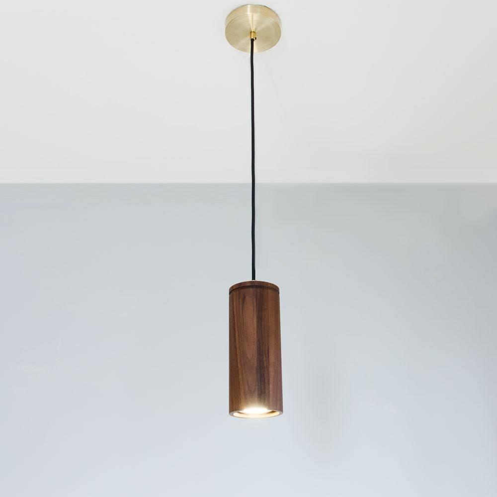 Walnut Cylinder Pendant Lamp Wood Pendant Light Brass And throughout Cylinder Pendant Lights (Image 13 of 15)