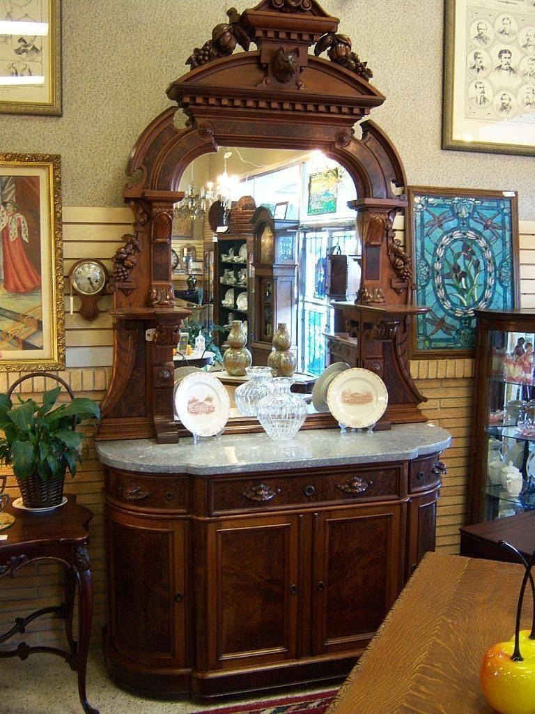 Walnut Sideboard, Victorian Renaissance Revival, Marble Top Carved pertaining to Antique Marble Top Sideboards (Image 15 of 15)