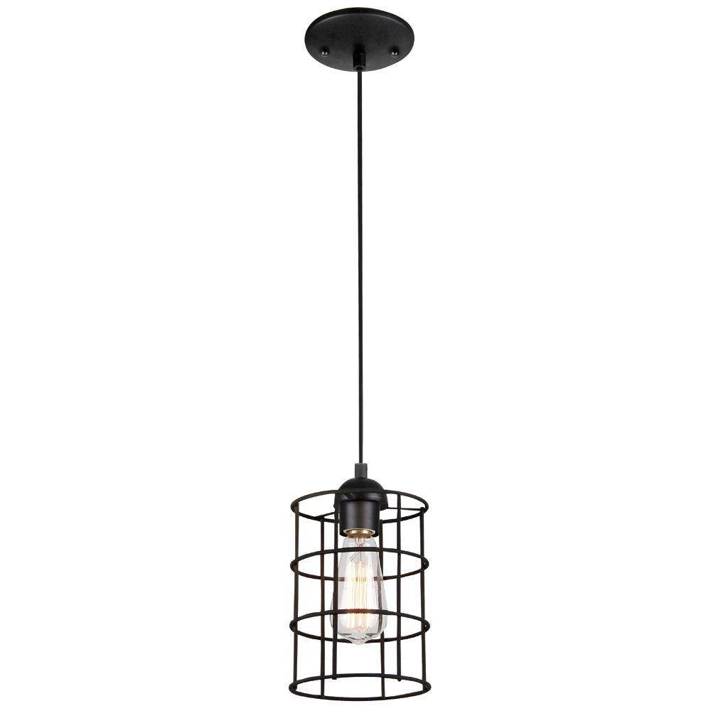 Westinghouse 1-Light Oil Rubbed Bronze Adjustable Mini Pendant in Bronze Cage Pendant Lights (Image 15 of 15)