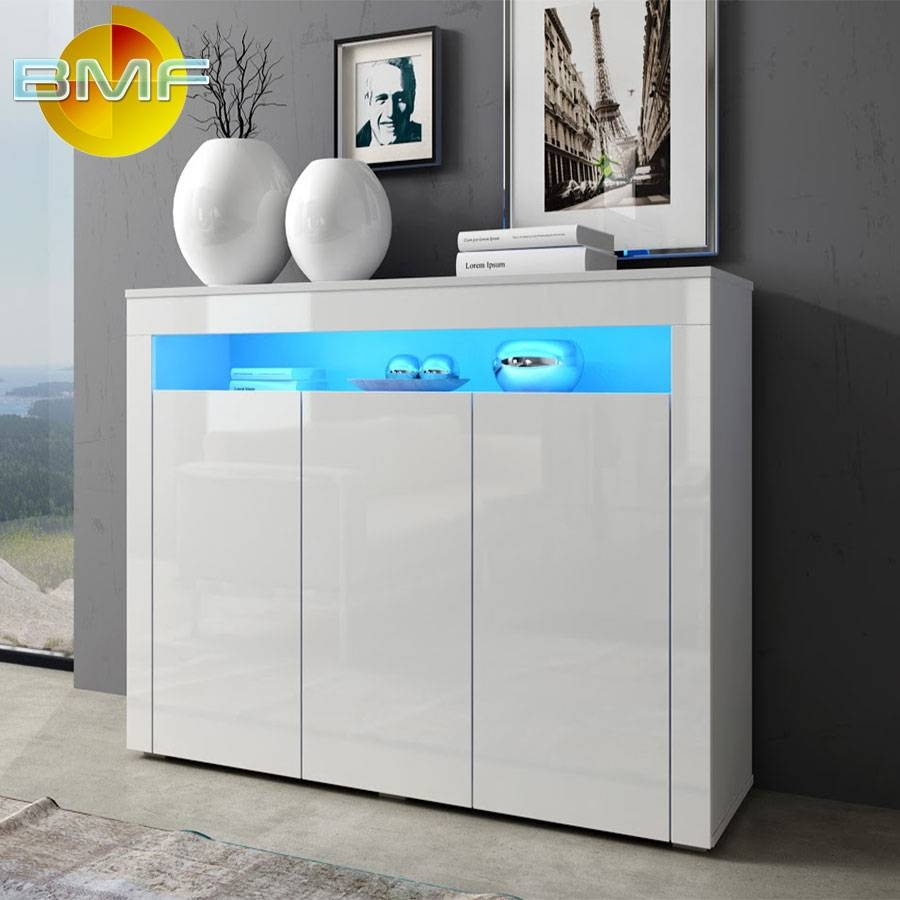 White Modern High Gloss Cabinet Sideboard Cupboard Buffet Rgb Led throughout Gloss Sideboard Furniture (Image 15 of 15)