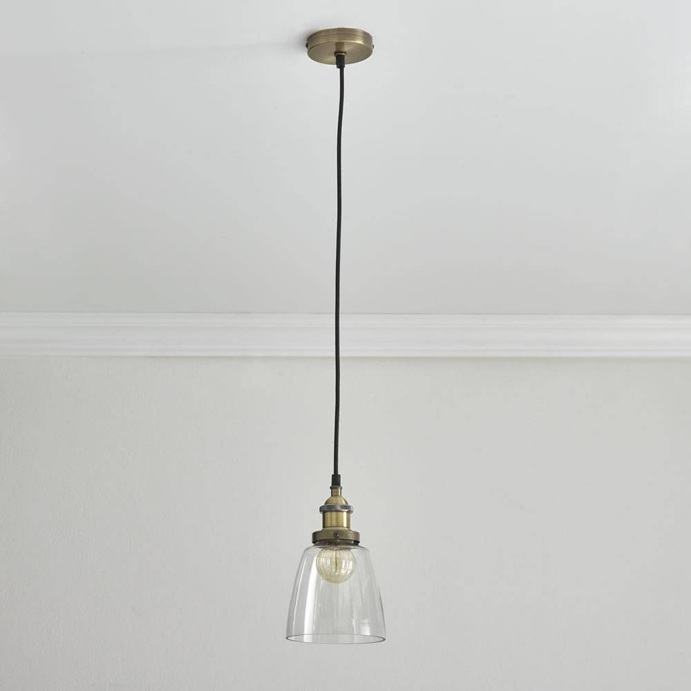 Wilko Small Industrial Glass Pendant Antique Brass At Wilko intended for Industrial Glass Pendant Lights (Image 14 of 15)
