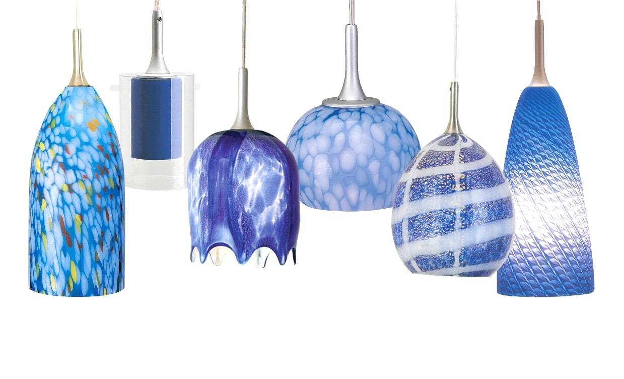 Wonderful Blue Pendant Lights Kitchen Lighting In Light Fixtures Within Blue Glass Pendant Lights (View 8 of 15)