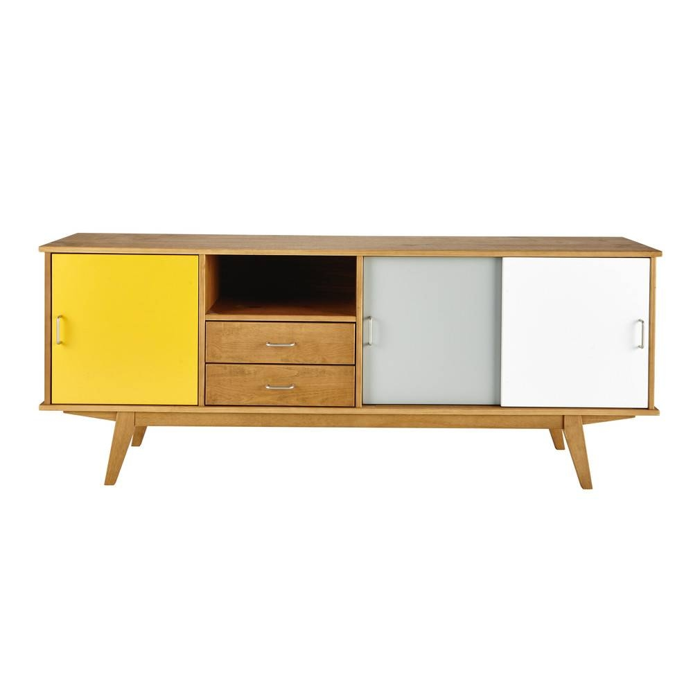 Wooden Vintage Sideboard In Yellow / Grey / White W 180Cm Intended For Vintage Sideboards (Photo 13 of 15)
