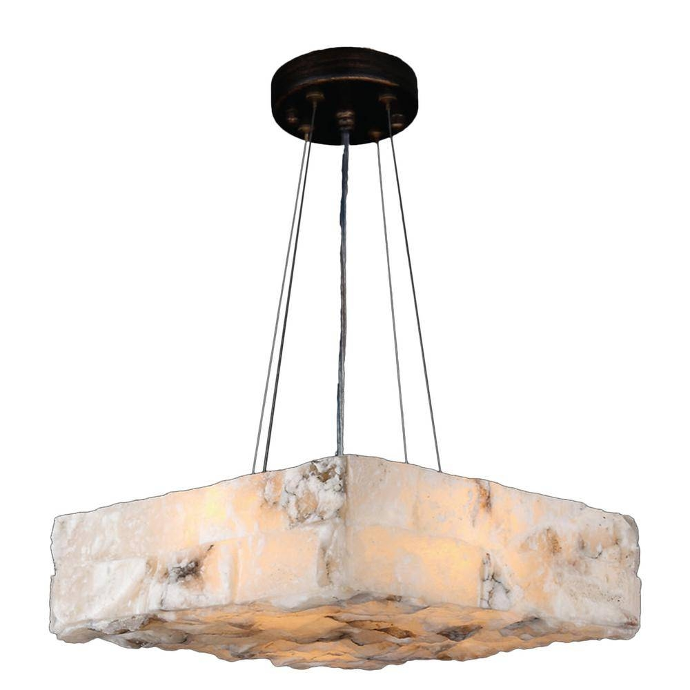Worldwide Lighting Pompeii 4 Light Flemish Brass Natural Quartz With Regard To Natural Pendant Lights (View 15 of 15)