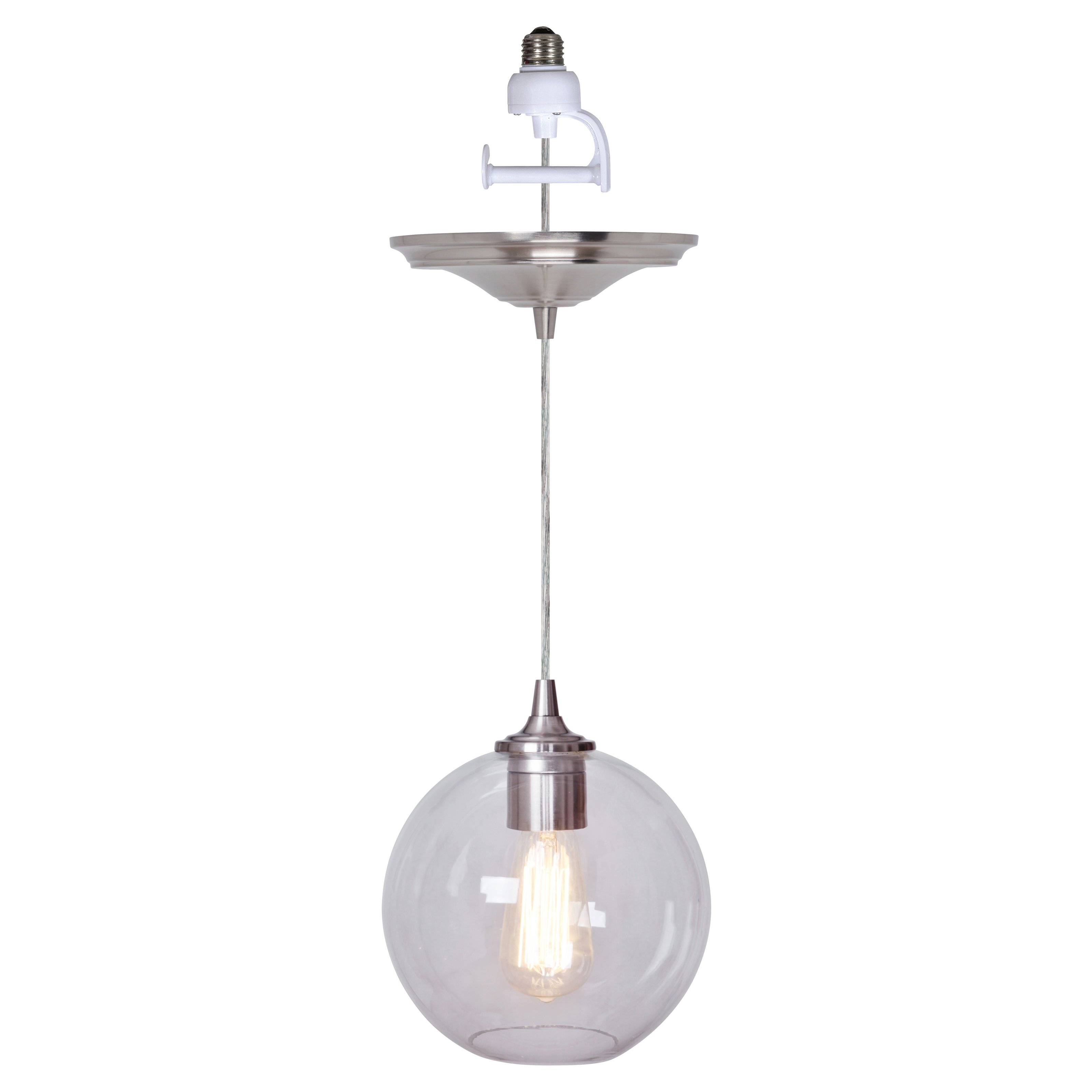 Worth Home Products Instant Screw In Pendant Light With Clear with Round Glass Pendant Lights (Image 15 of 15)