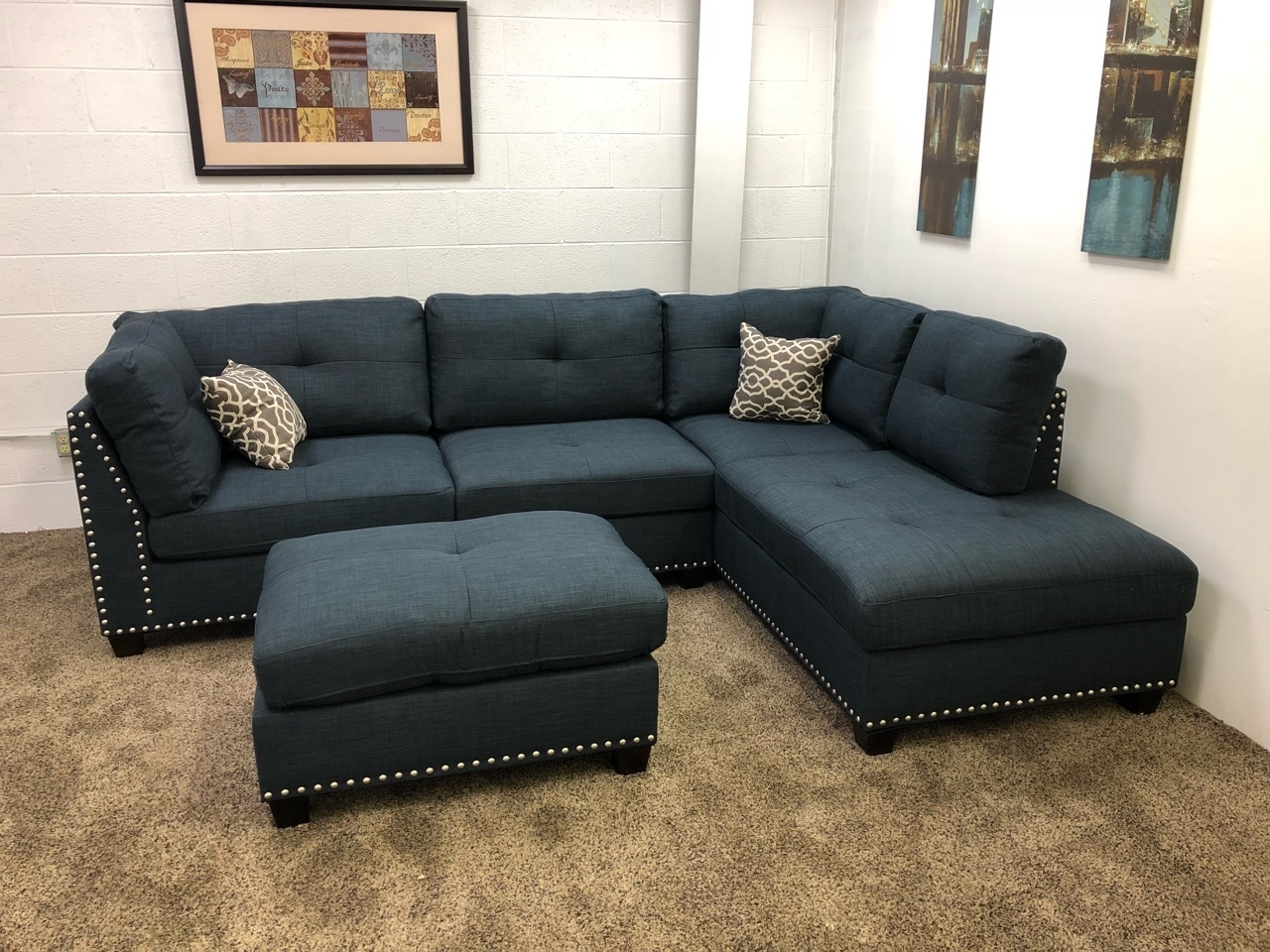 0 In Stock)#n754R $250 Down Blue Studded Linen Sectional Sofa W For Sectional Sofas With Chaise Lounge And Ottoman (View 1 of 15)