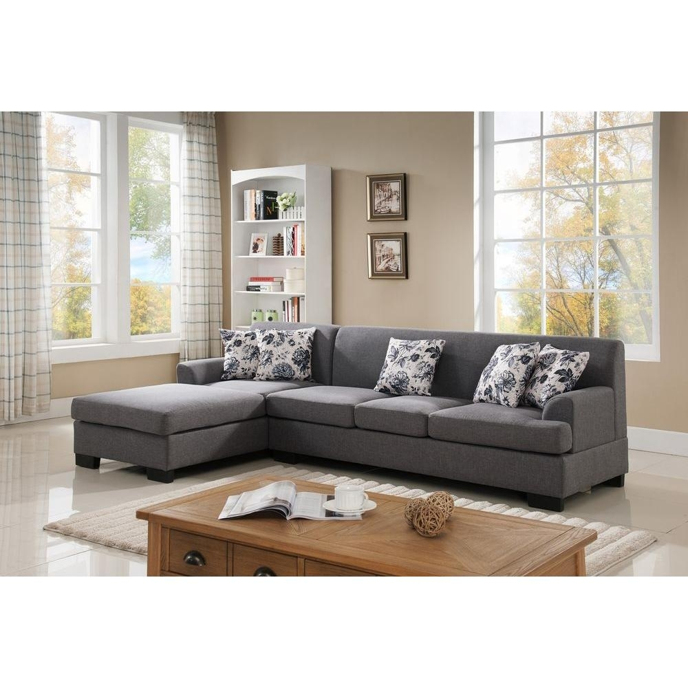 2 Piece Brown Linen Sectional S0072 2Pc   The Home Depot In Home Depot Sectional Sofas (Photo 8 of 10)