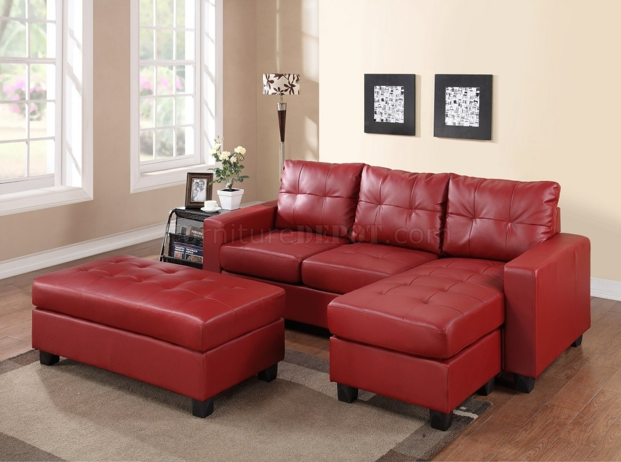 2511 Sectional Sofa Set In Red Bonded Leather Match Pu inside Red Leather Sectional Sofas With Ottoman (Image 1 of 15)