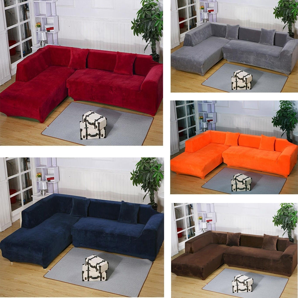 2Seats 3Seats Plush Stretch Sure Fit L Shaped / Sectional Sofa Slip Throughout Sectional Sofas With Covers (Gallery 9 of 15)