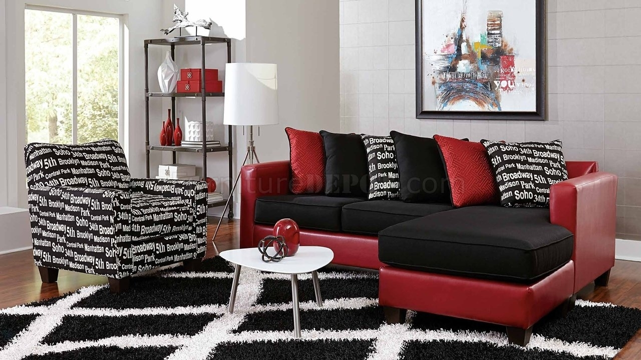 3006 Sectional Sofa In Red Bicast & Black Microfiber With Red Black Sectional Sofas (View 6 of 10)
