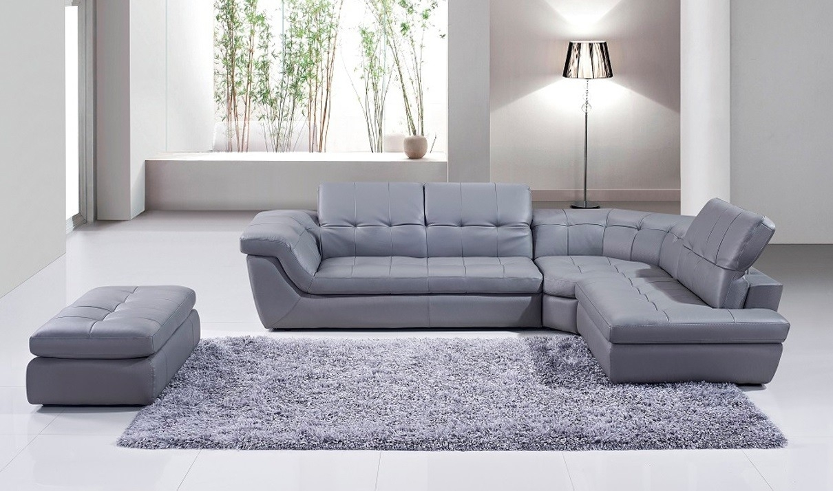 397 Italian Leather Sectional Sofa With Ottoman In Grey | Free inside Leather Sectionals With Ottoman (Image 1 of 15)