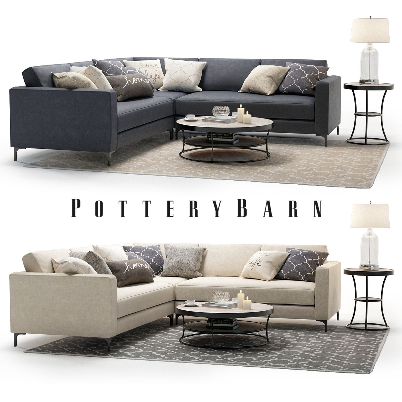 3D Model   Pottery Barn   Jake Sectional Sofa With Bartlett Intended For Pottery Barn Sectional Sofas (Photo 7 of 10)