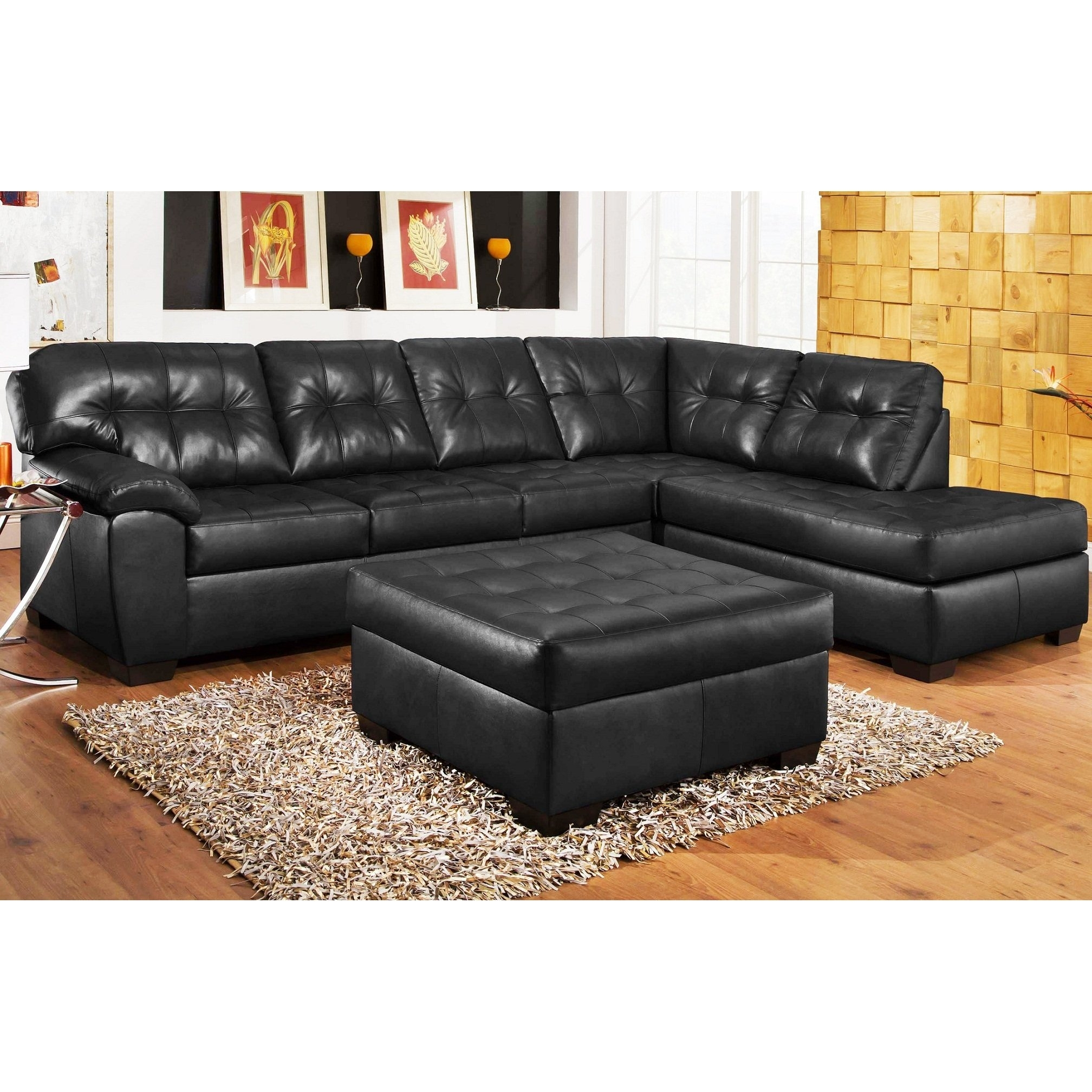 3Pc Black Leather Sectional Sofa , Chaise , Ottoman Set | Create The throughout Black Leather Sectionals With Ottoman (Image 1 of 15)