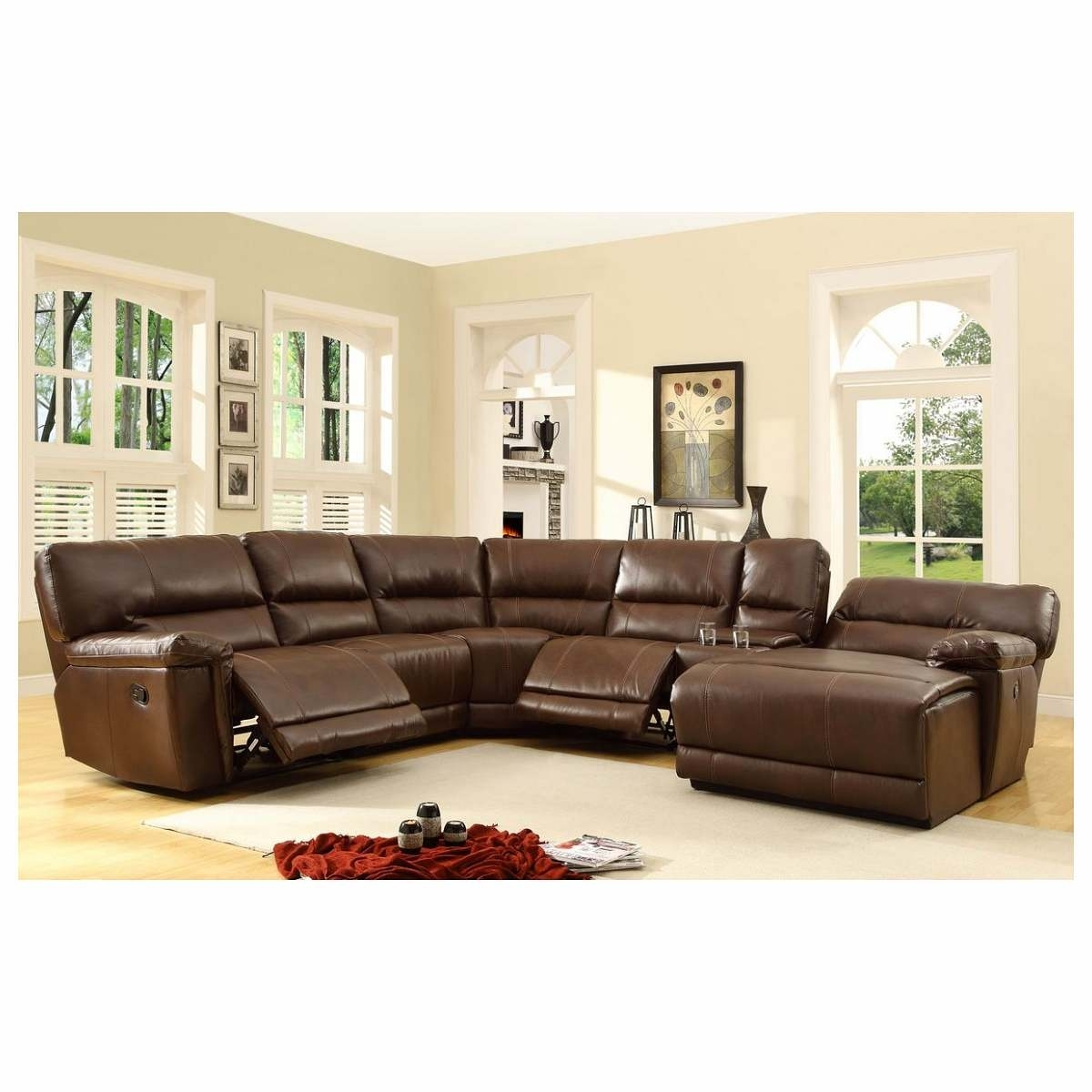 6 Pc Blythe Collection Brown Bonded Leather Match Upholstered Throughout 6 Piece Leather Sectional Sofas (Photo 5 of 10)