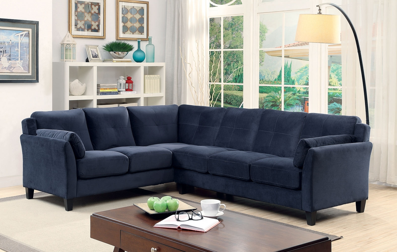 6368Nv Nvay Blue Contemporary Sectional Sofa Furniture Of America intended for Blue Sectional Sofas (Image 2 of 15)
