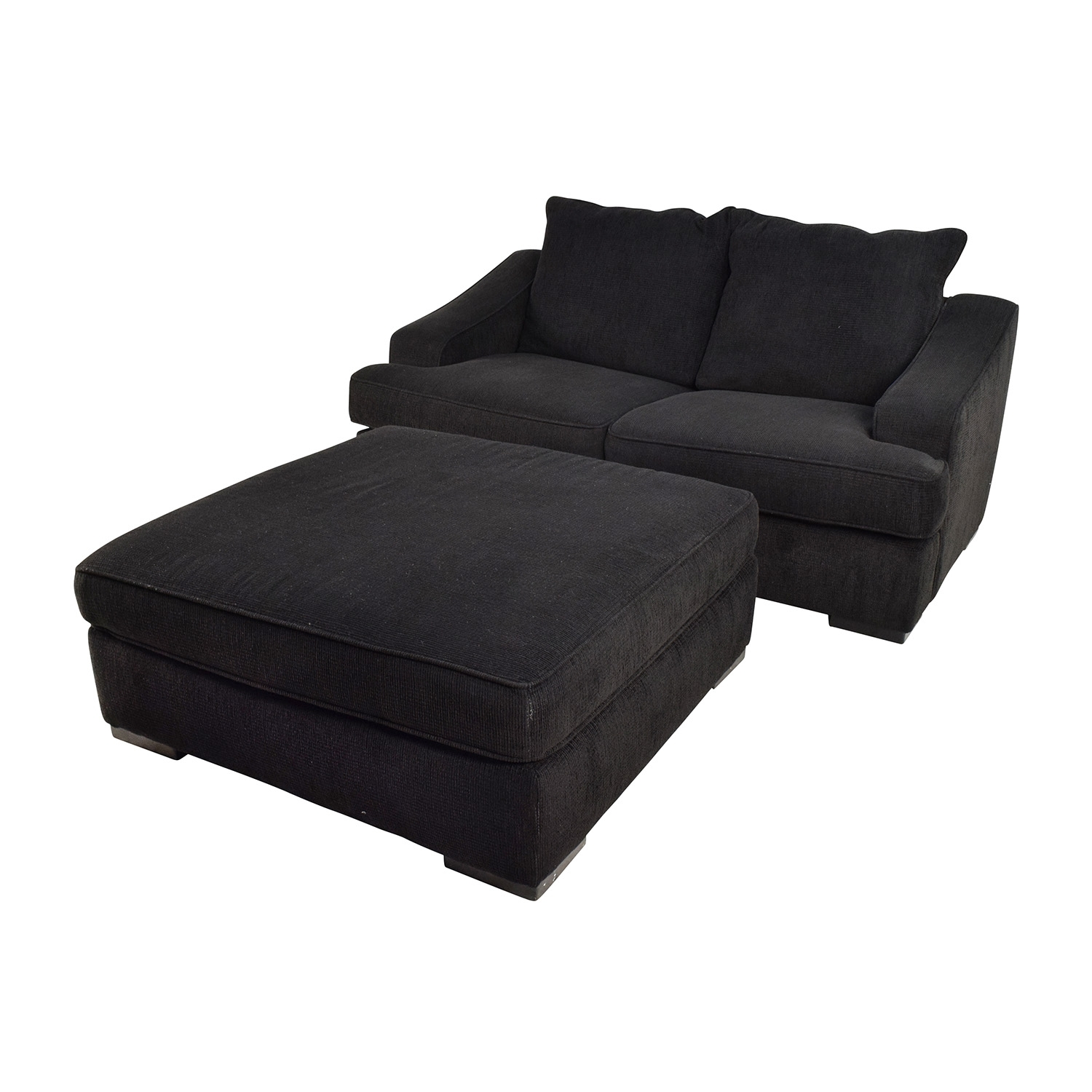 67% Off - Black Cloth Loveseat And Matching Oversized Ottoman / Sofas intended for Loveseats With Ottoman (Image 1 of 15)