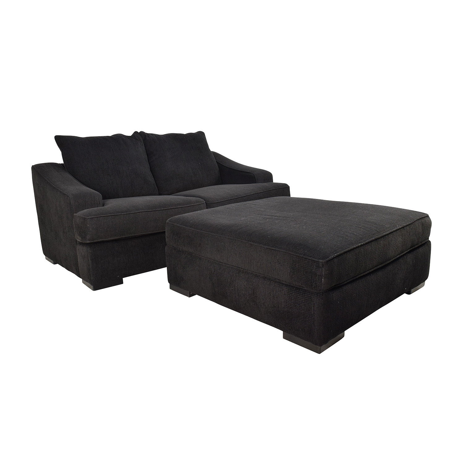 67% Off - Black Cloth Loveseat And Matching Oversized Ottoman / Sofas with Loveseats With Ottoman (Image 2 of 15)