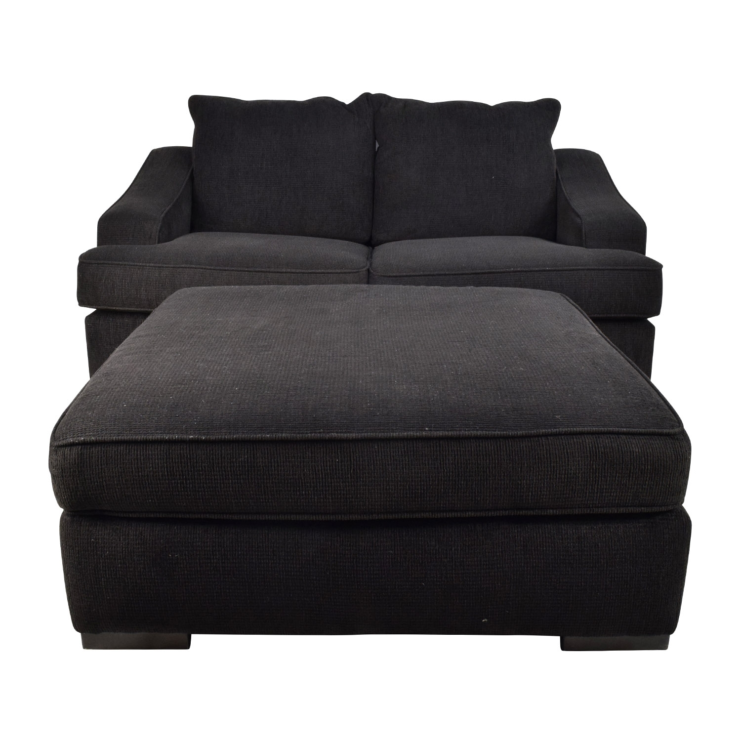 67% Off - Black Cloth Loveseat And Matching Oversized Ottoman / Sofas within Loveseats With Ottoman (Image 3 of 15)