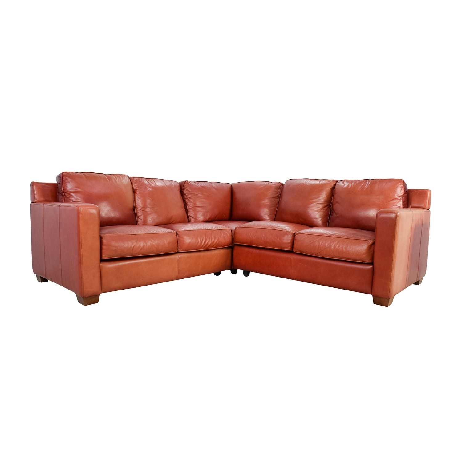68% Off – Thomasville Thomasville Red Leather Sectional / Sofas Regarding Thomasville Sectional Sofas (Gallery 1 of 10)