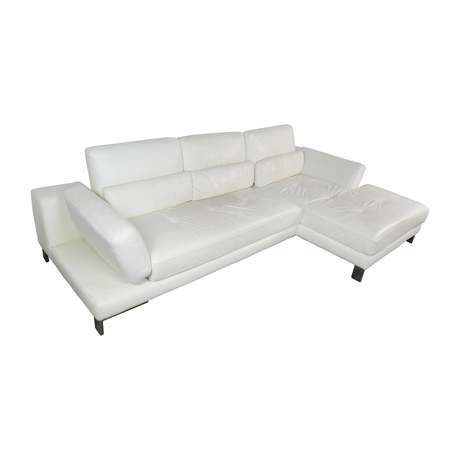 72% Off - Mobilia Canada Mobilia Canada Funktion White Leather regarding Mobilia Sectional Sofas (Image 2 of 10)