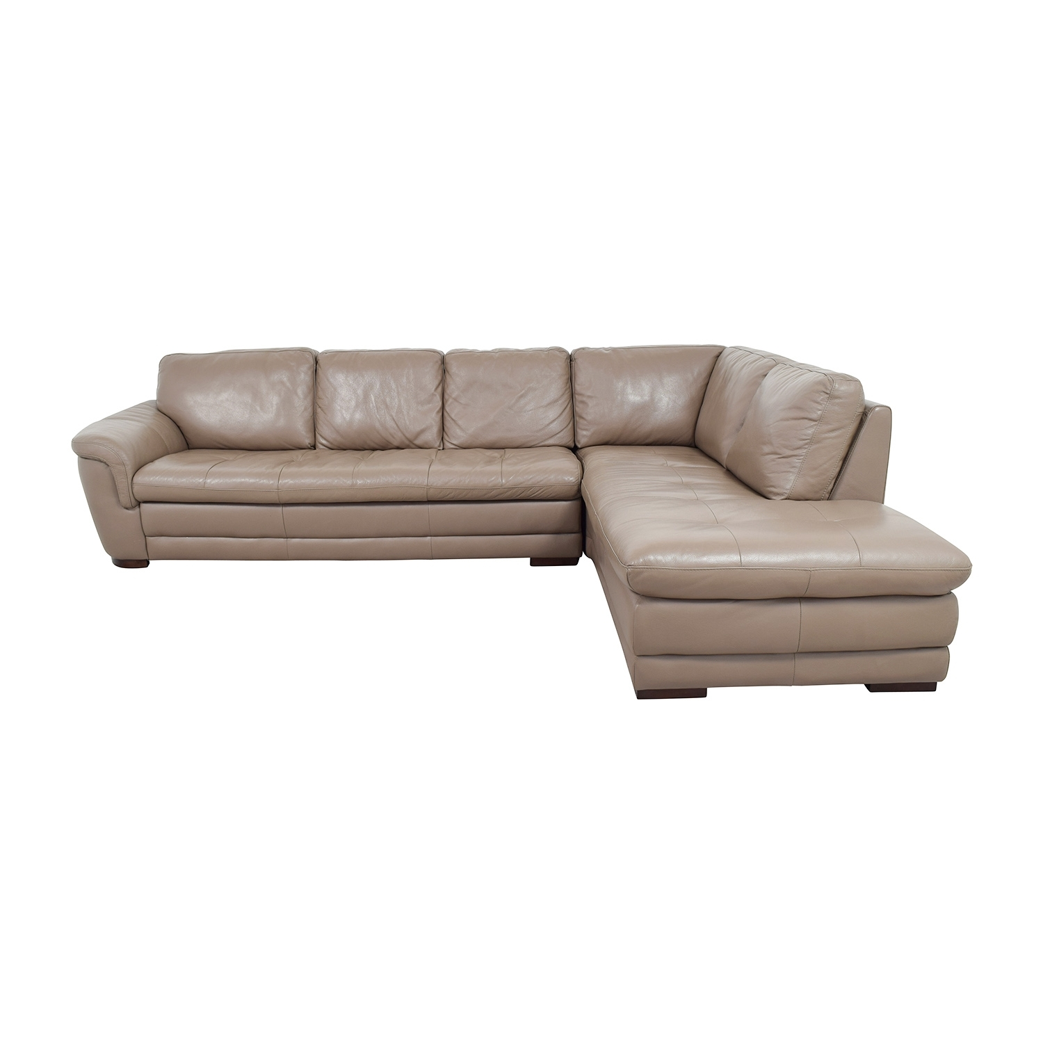74% Off – Raymour And Flanigan Raymour & Flanigan Tan Tufted Leather Throughout Sectional Sofas At Raymour And Flanigan (View 5 of 15)