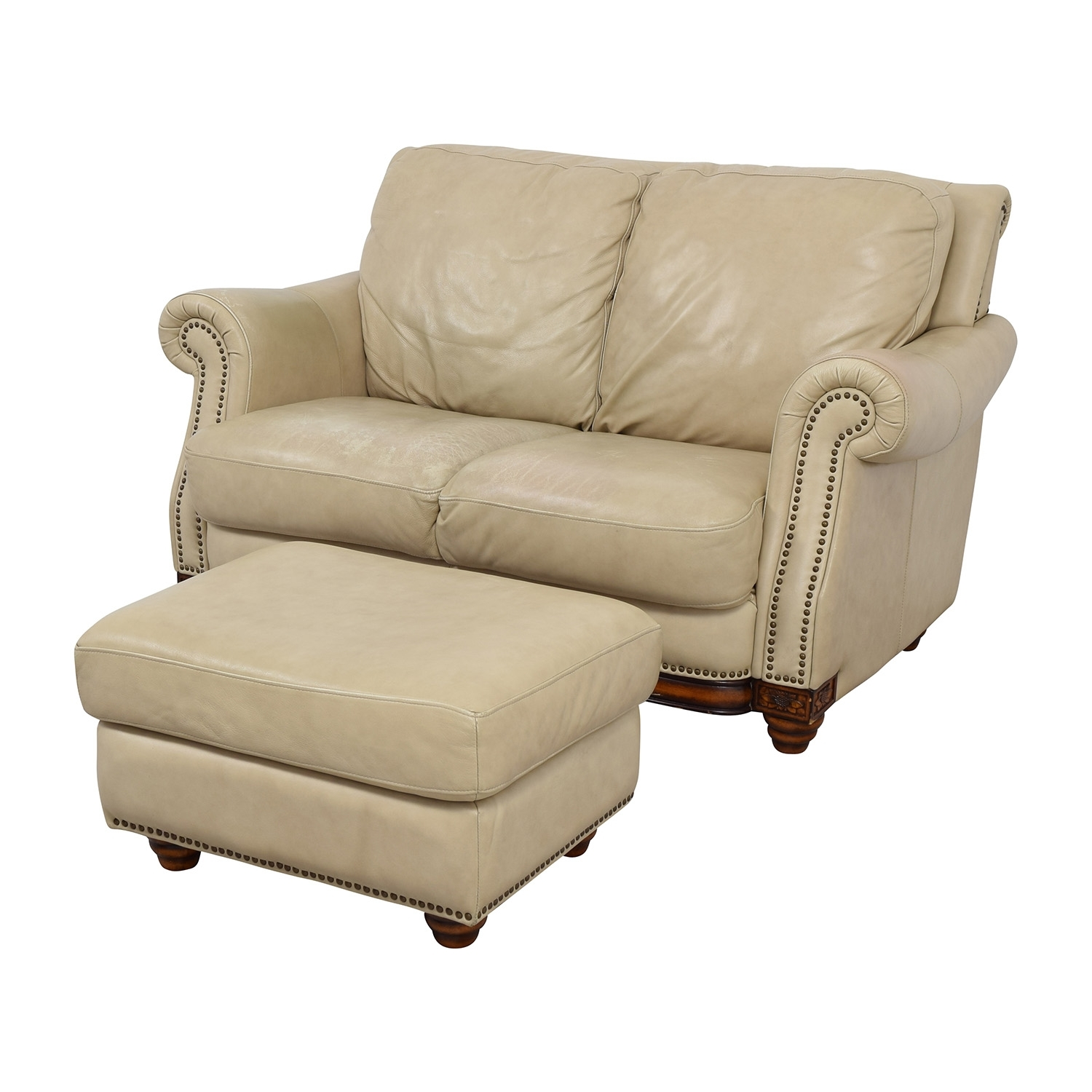 74% Off - Raymour & Flanigan Raymour & Flanigan Studded Tan Leather for Loveseats With Ottoman (Image 5 of 15)