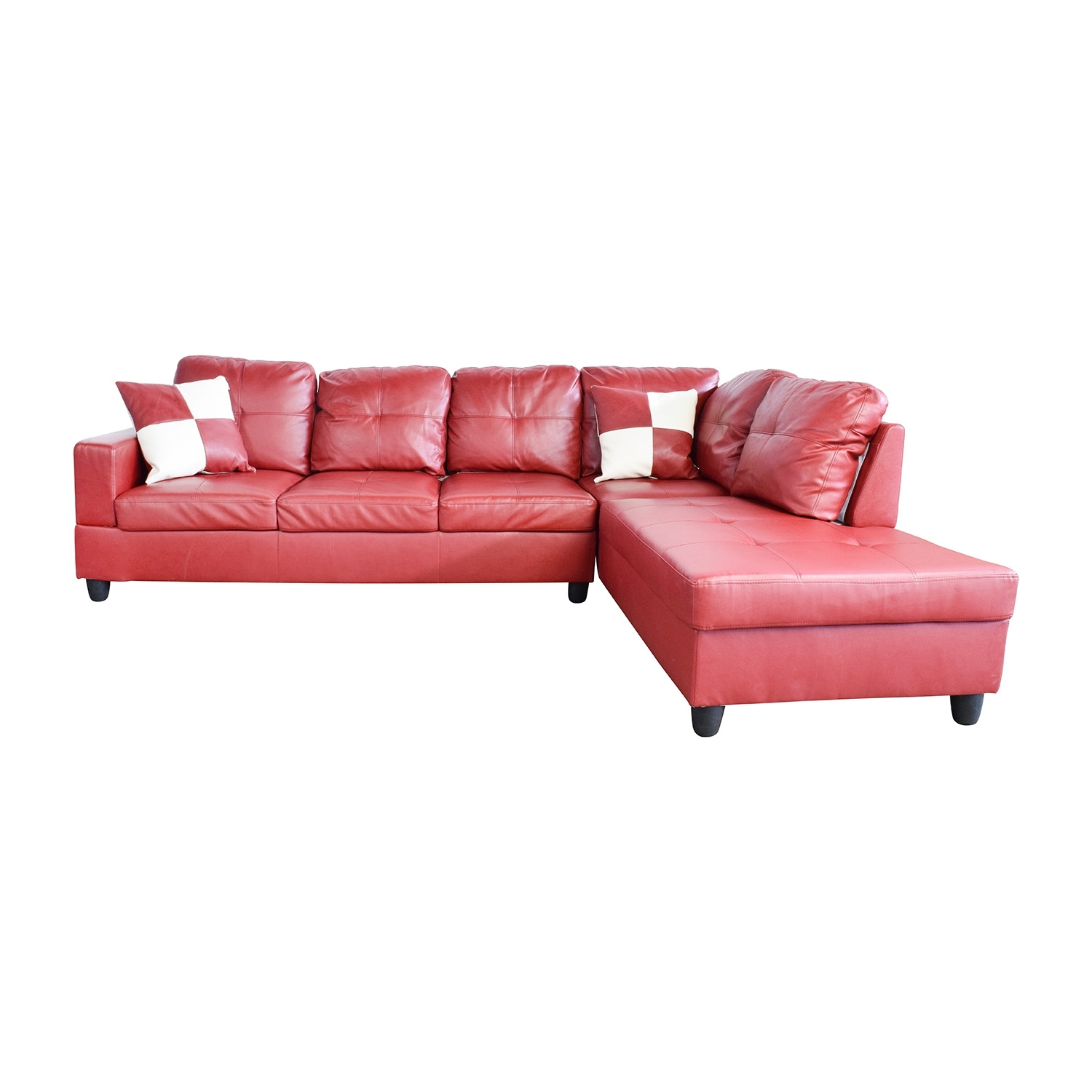76% Off   Beverly Furniture Beverly Furniture Red Faux Leather In Red Faux Leather Sectionals (Photo 8 of 15)