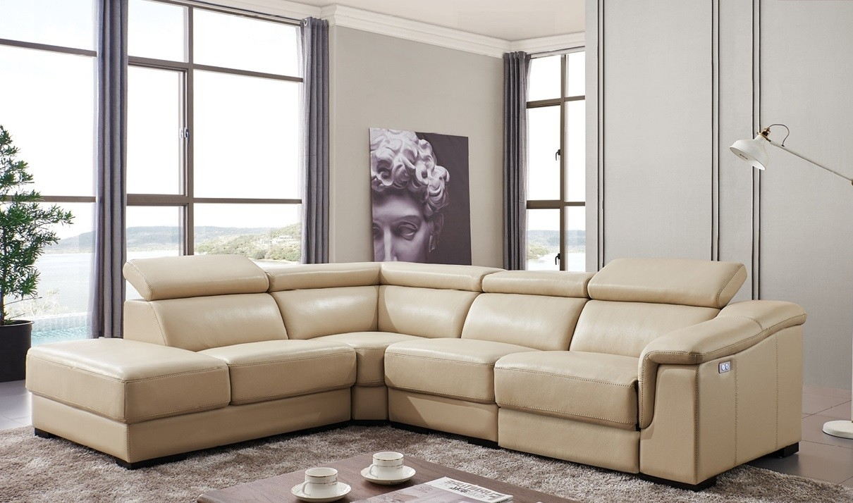 760 Leather Sectional Sofa W/electric Recliner In Beige | Free Pertaining To Beige Sectional Sofas (Photo 14 of 15)