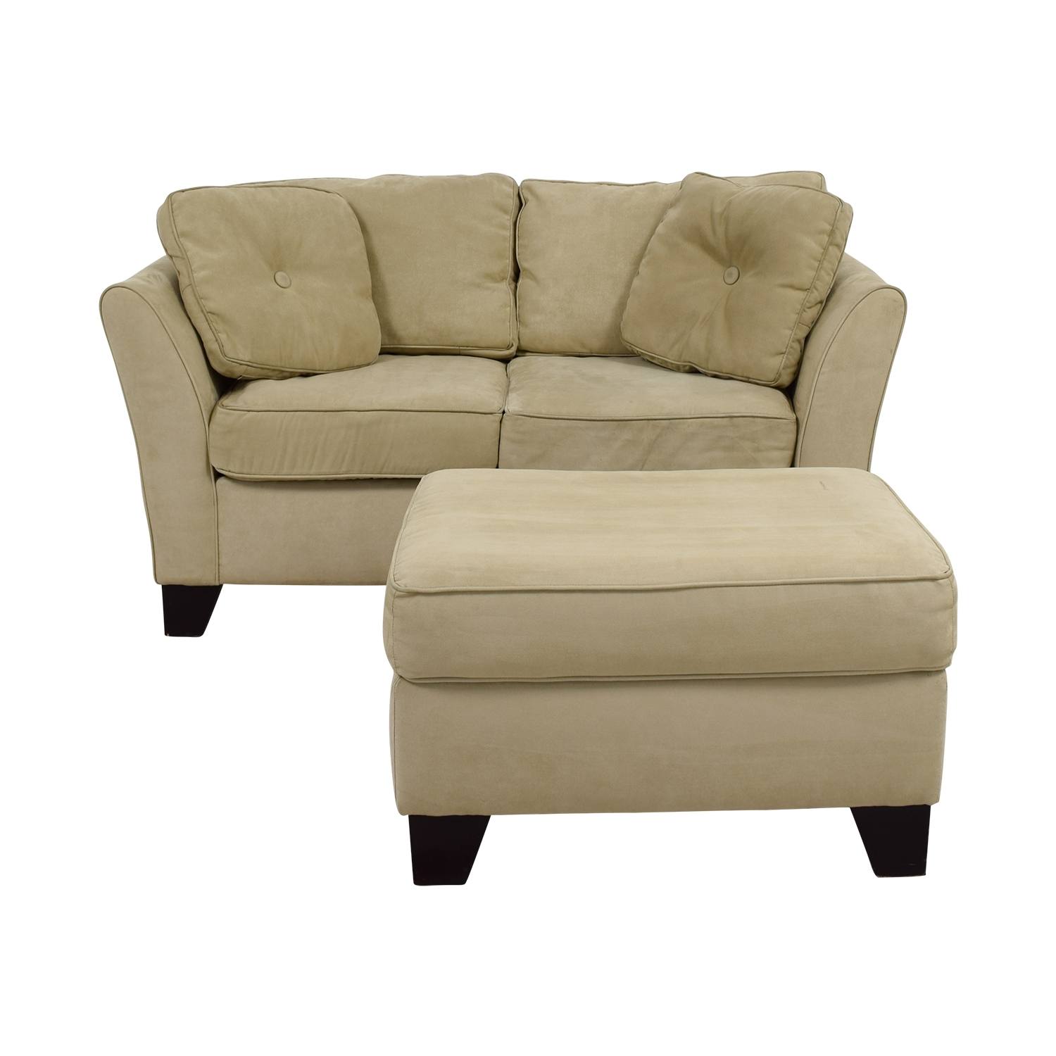 86% Off - Macy's Macy's Tan Loveseat With Ottoman / Sofas with Loveseats With Ottoman (Image 6 of 15)