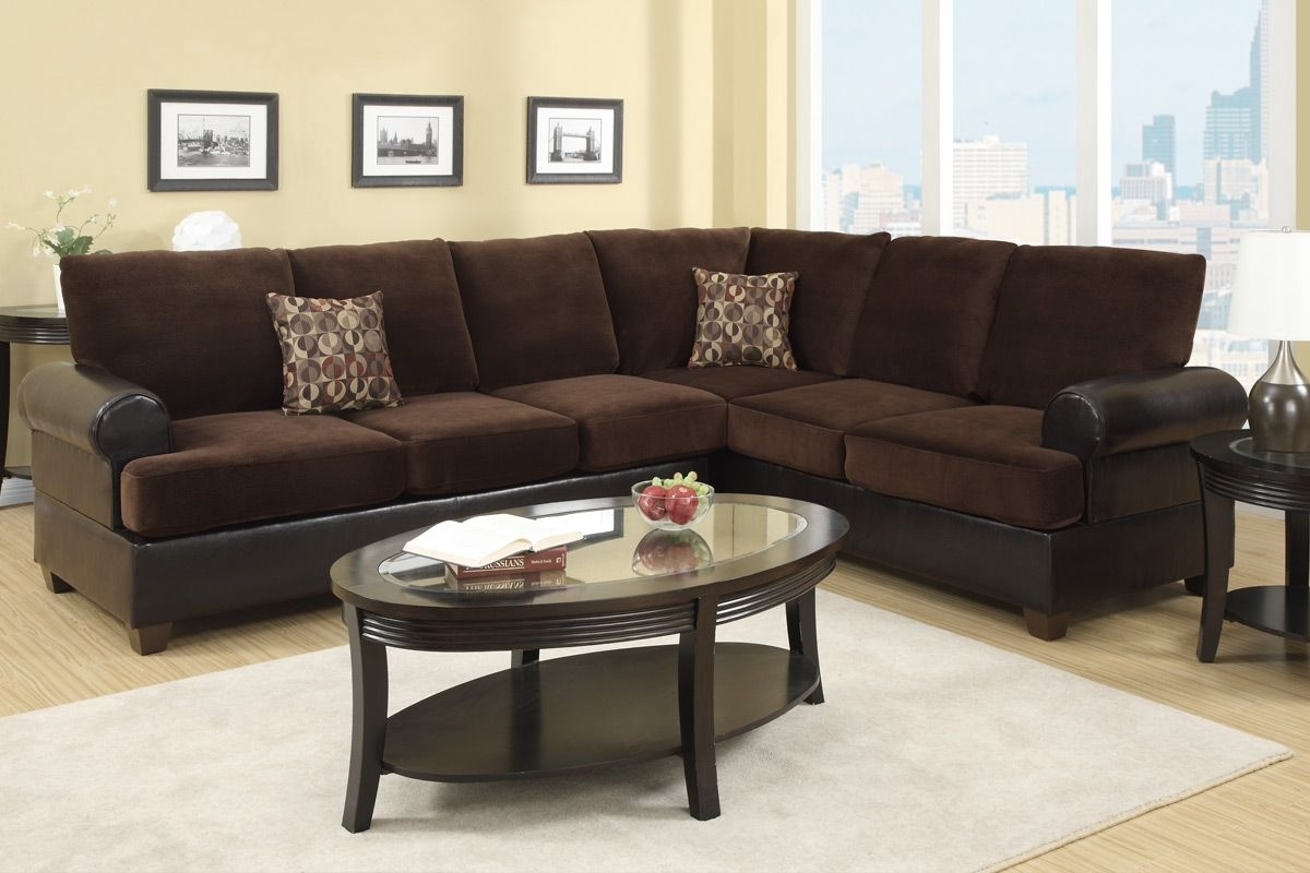 Abbas Chocolate Microsuede Sectional Sofa - Steal-A-Sofa Furniture intended for Chocolate Sectional Sofas (Image 1 of 15)