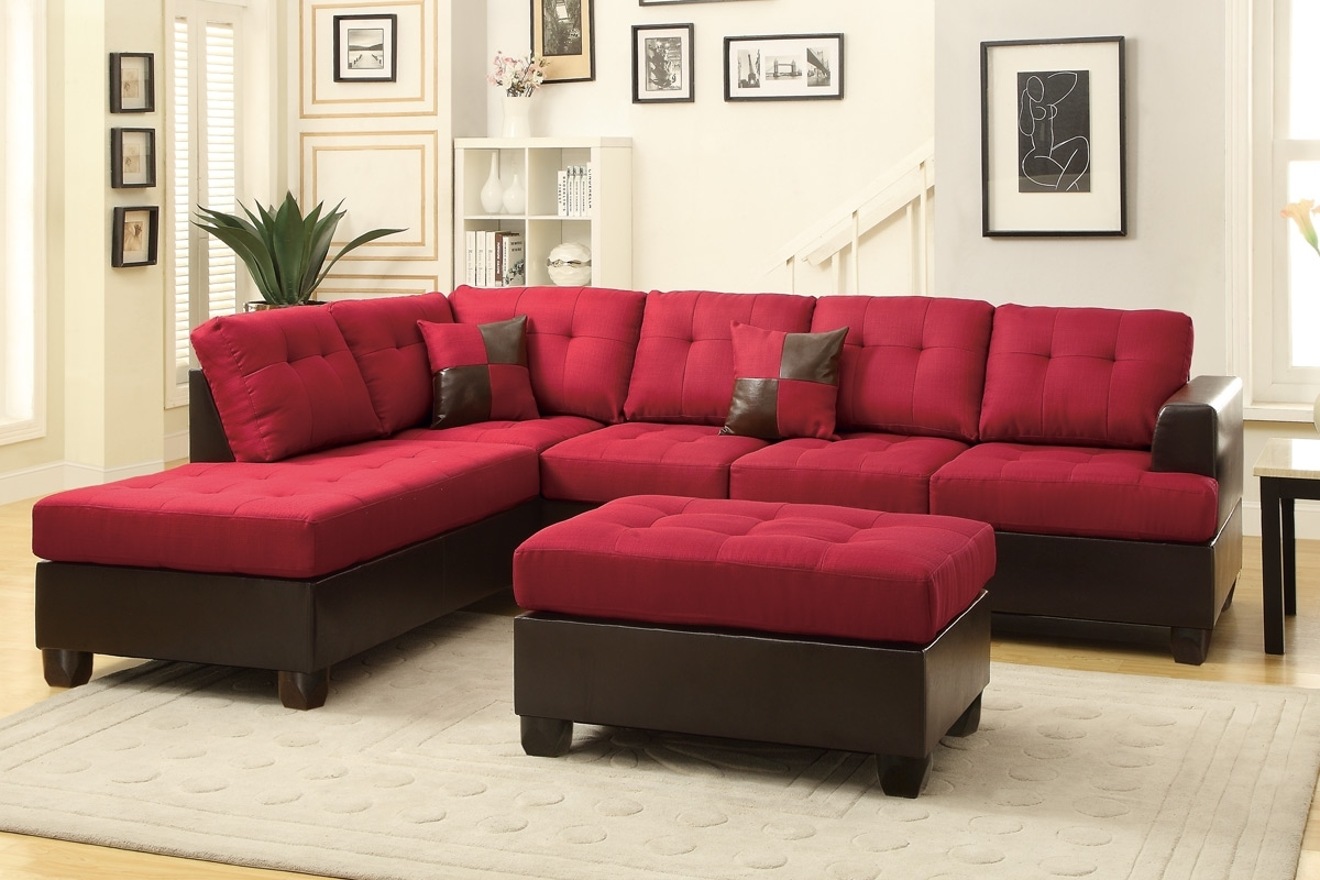 Abby Red Sectional Sofa W/ Ottoman Inside Red Sectional Sofas With Ottoman (View 2 of 15)