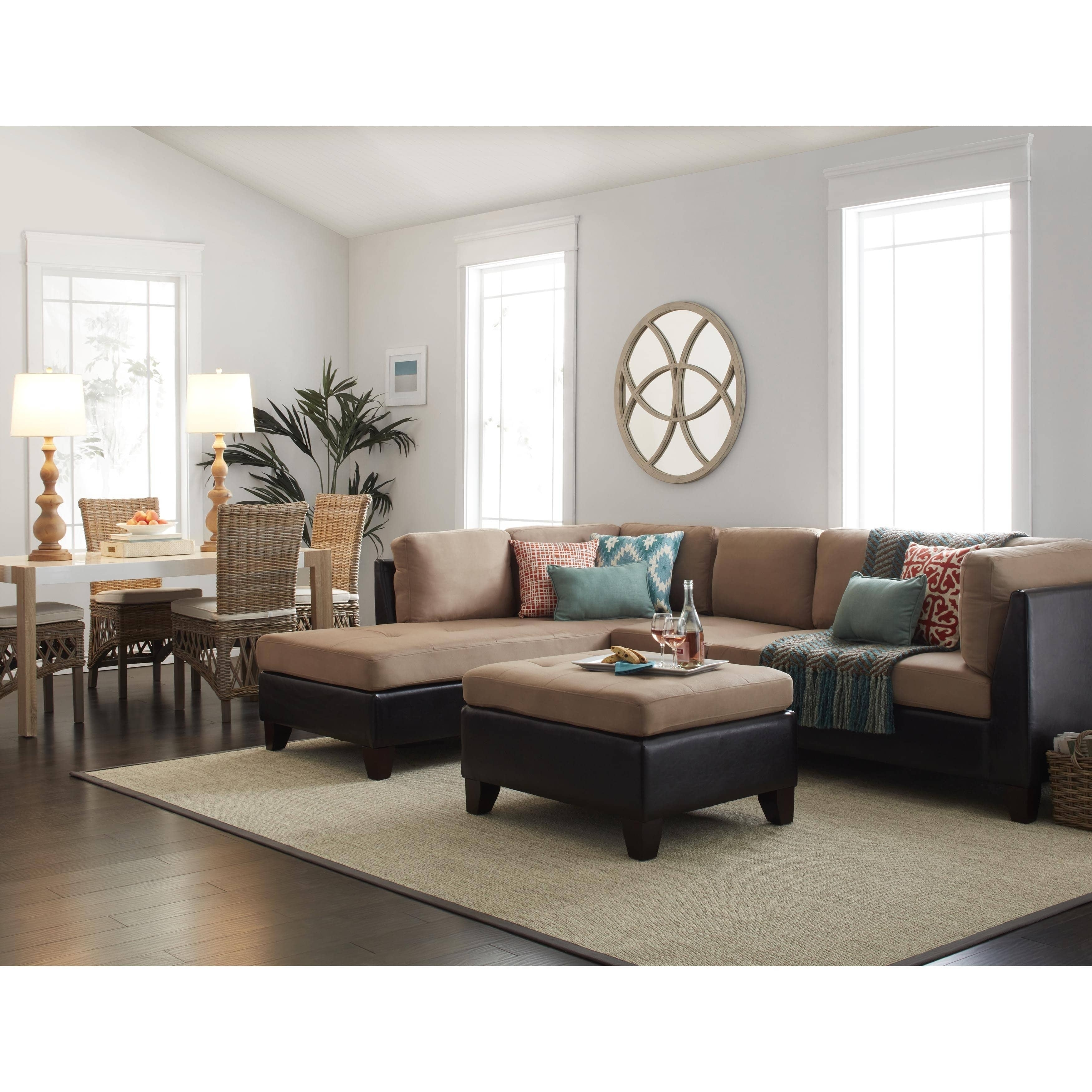 Abbyson Charlotte Beige Sectional Sofa And Ottoman - Free Shipping for Charlotte Sectional Sofas (Image 4 of 10)
