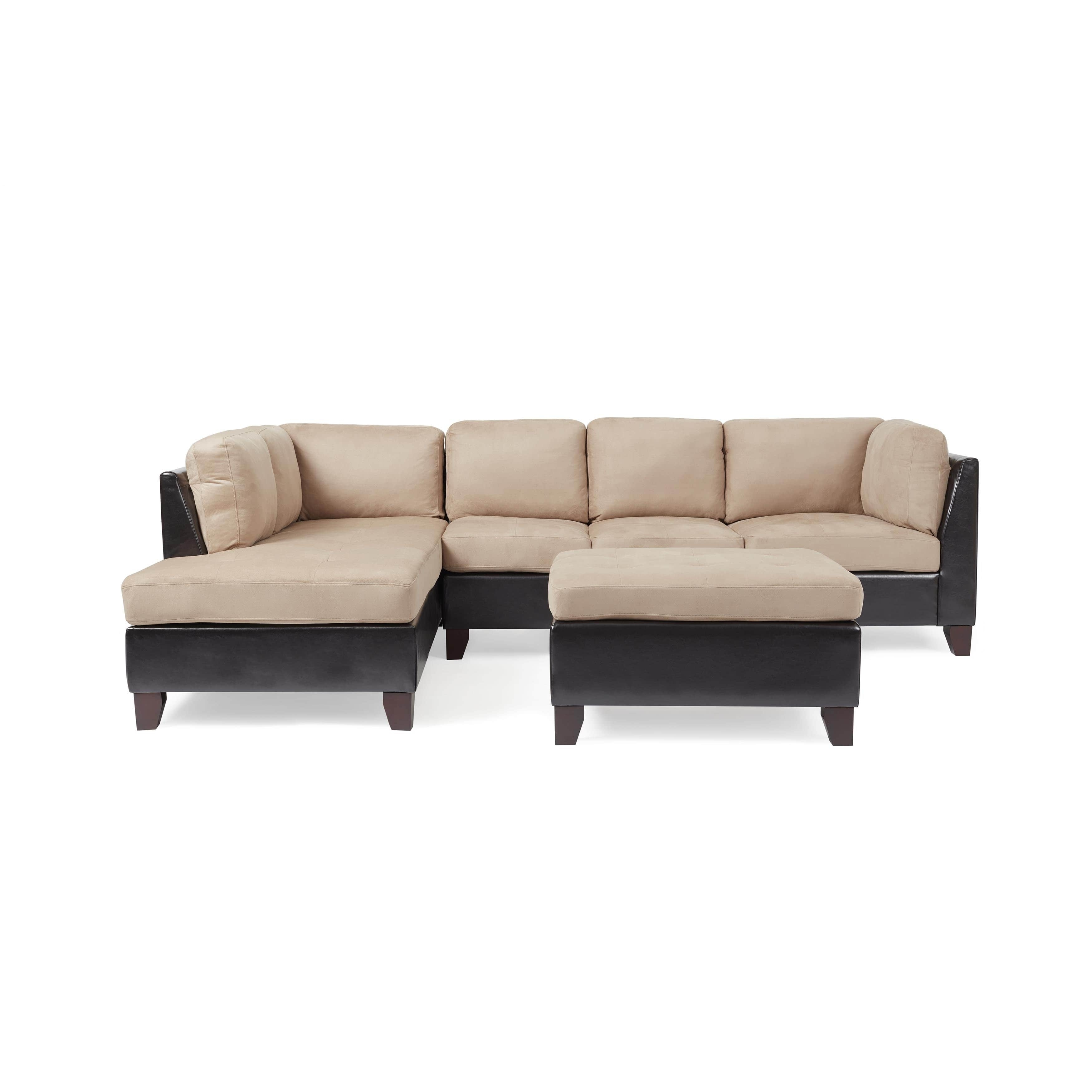 Abbyson Charlotte Beige Sectional Sofa And Ottoman - Free Shipping throughout Charlotte Sectional Sofas (Image 5 of 10)