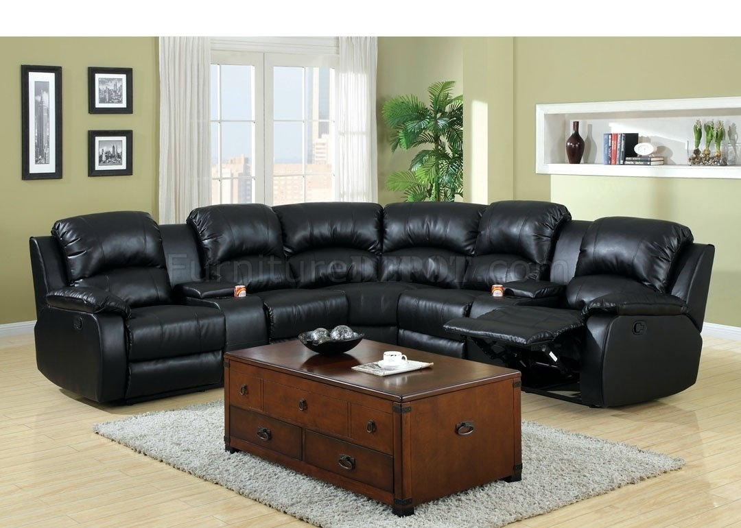 Aberdeen Motion Sectional Sofa Cm6557Bp Bonded Leather Match pertaining to Sectional Sofas With Cup Holders (Image 1 of 10)