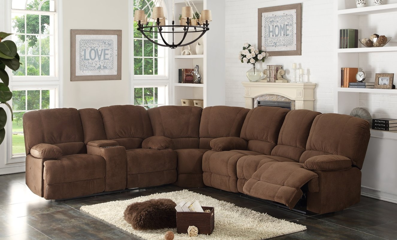 Ac Pacific Kevin Reclining Sectional & Reviews | Wayfair Throughout Sectional Sofas With Recliners (View 2 of 15)