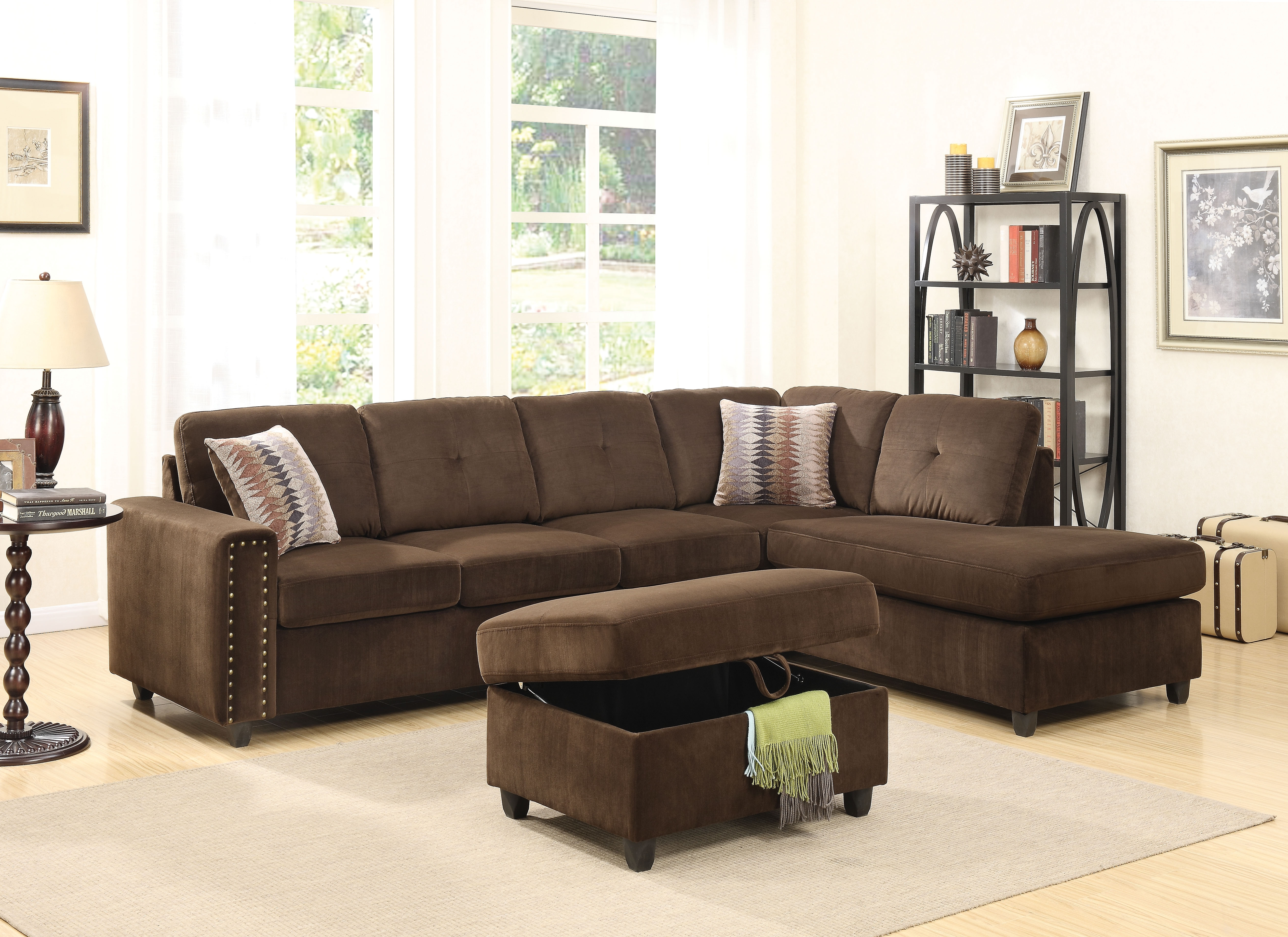 Acme Belville Reversible Sectional Sofa With 2 Pillows, Chocolate with regard to Chocolate Sectional Sofas (Image 2 of 15)