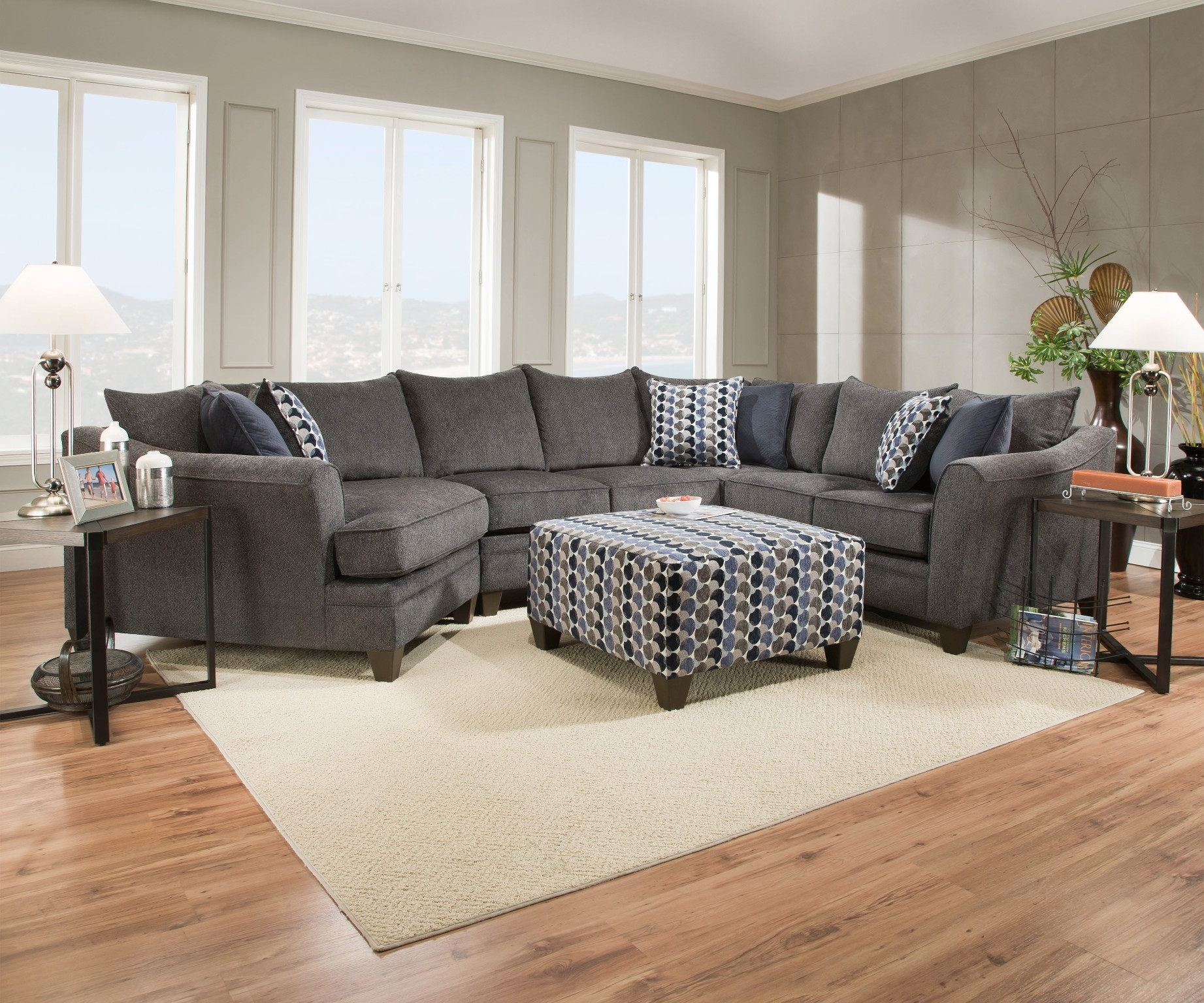 Albany Slate 3 Piece Sectional Quality Simmons Upholstery With with regard to Simmons Chaise Sofas (Image 3 of 10)