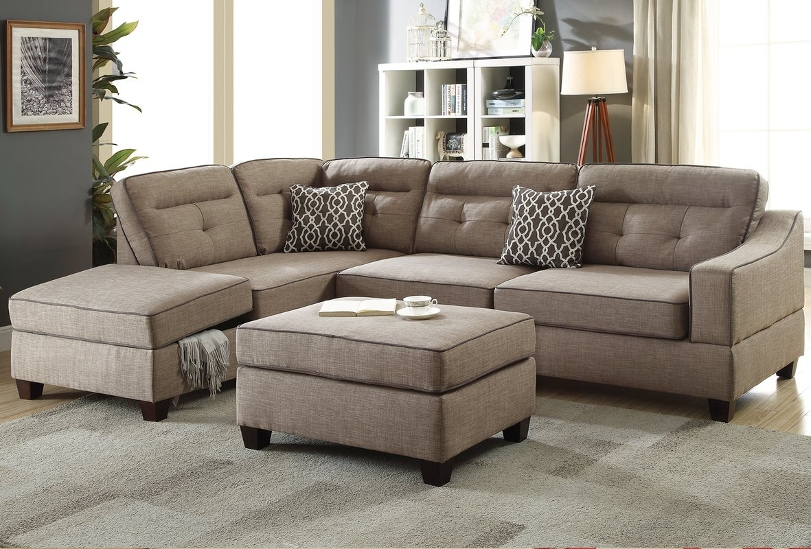 Alcott Hill Sarah Reversible Sectional With Ottoman & Reviews | Wayfair Within Cheap Sectionals With Ottoman (View 1 of 15)
