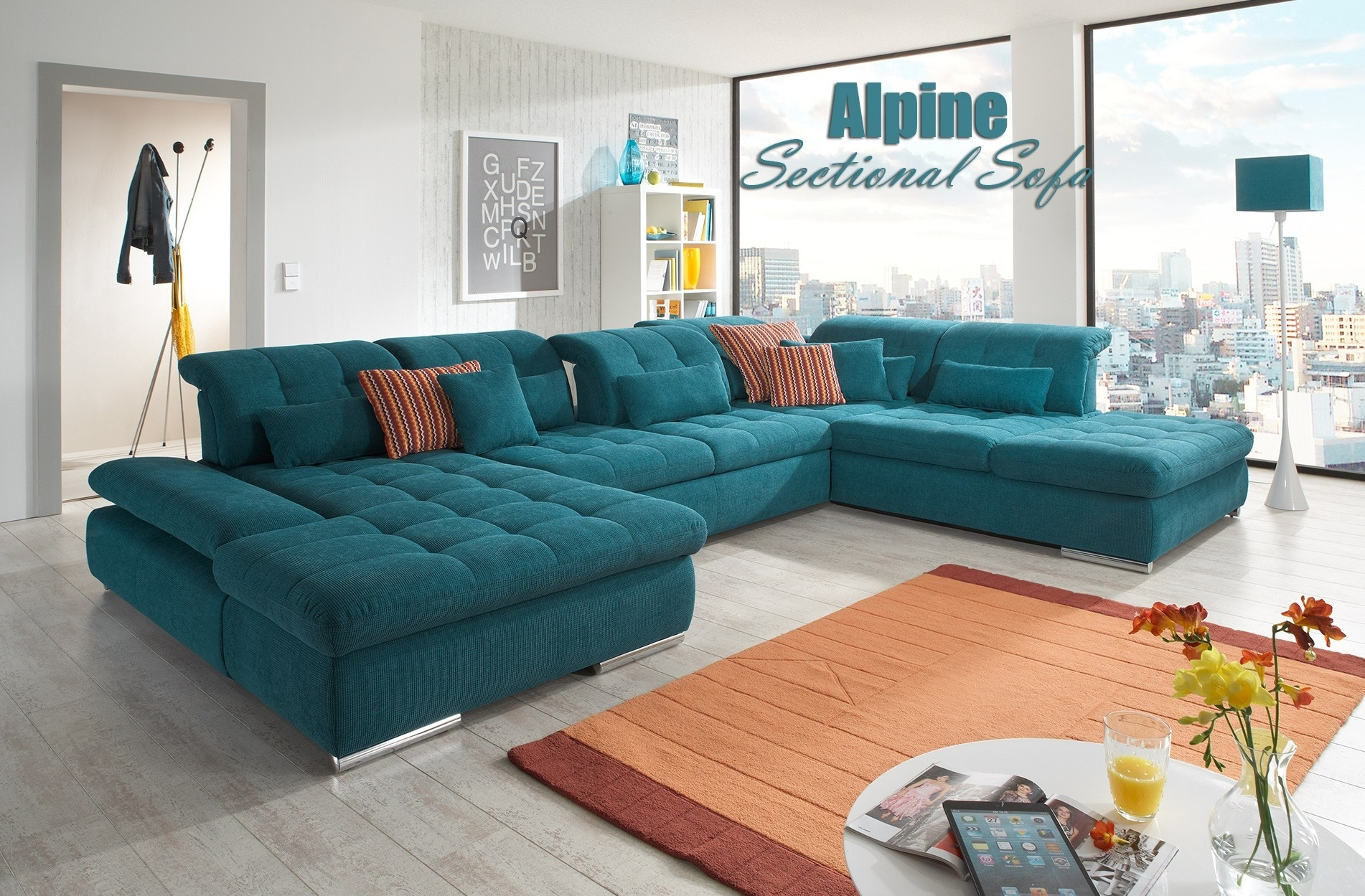 Alpine Sectional Sofa In Green Fabric For Green Sectional Sofas (View 7 of 10)