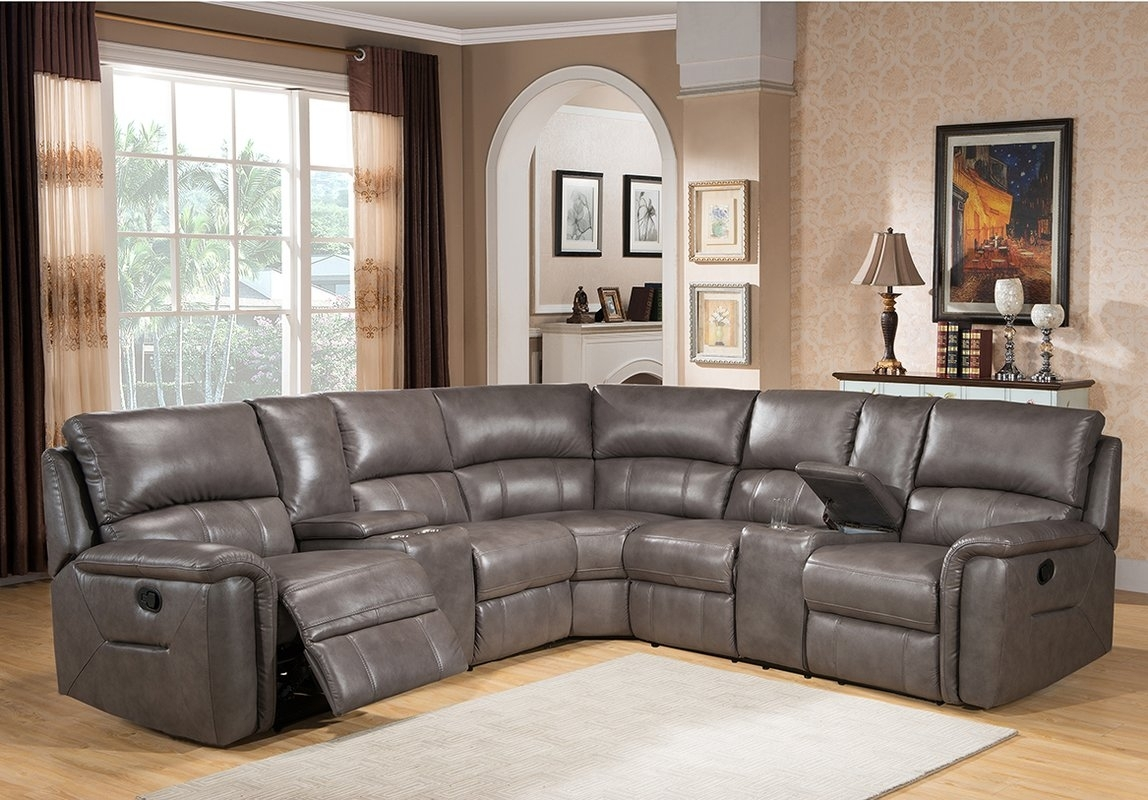 Amax Sacramento Leather Reclining Sectional & Reviews | Wayfair inside Sacramento Sectional Sofas (Image 1 of 10)