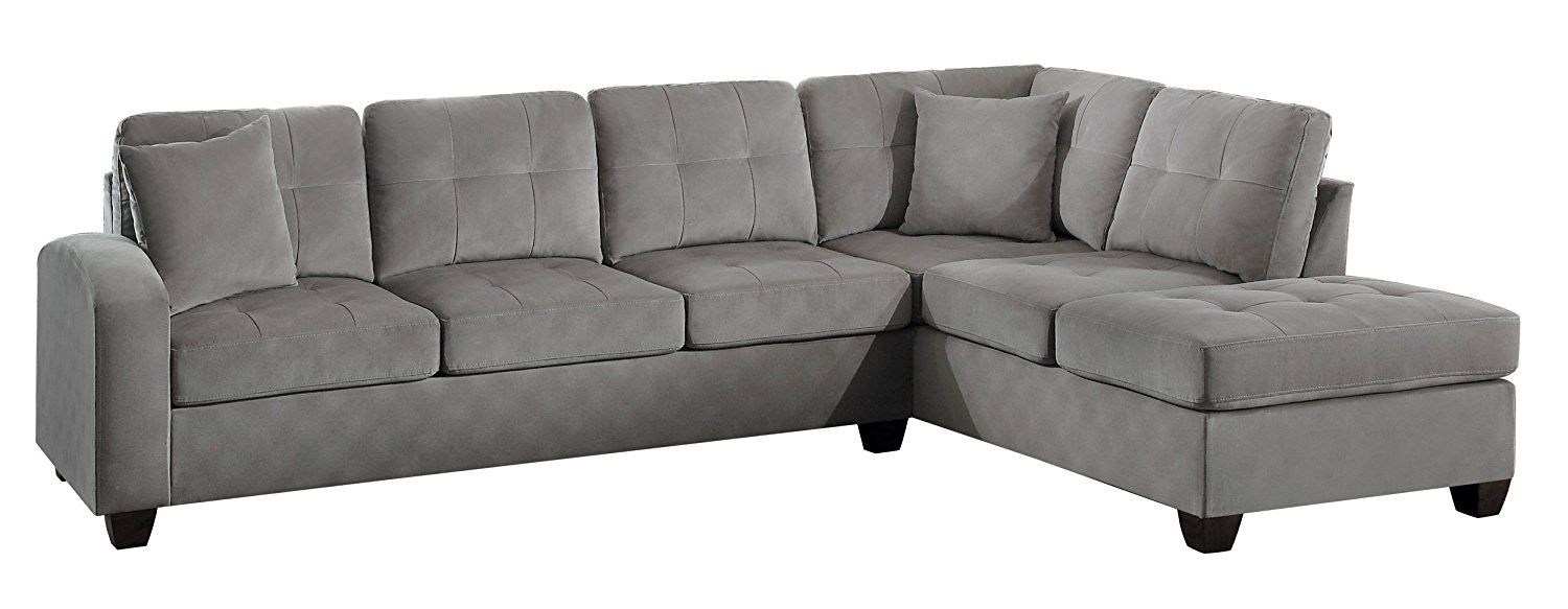 Amazon Com 3Pc Contemporary Grey Microfiber Sectional Sofa Chaise With Regard To Sectional Sofas At Amazon (View 2 of 15)