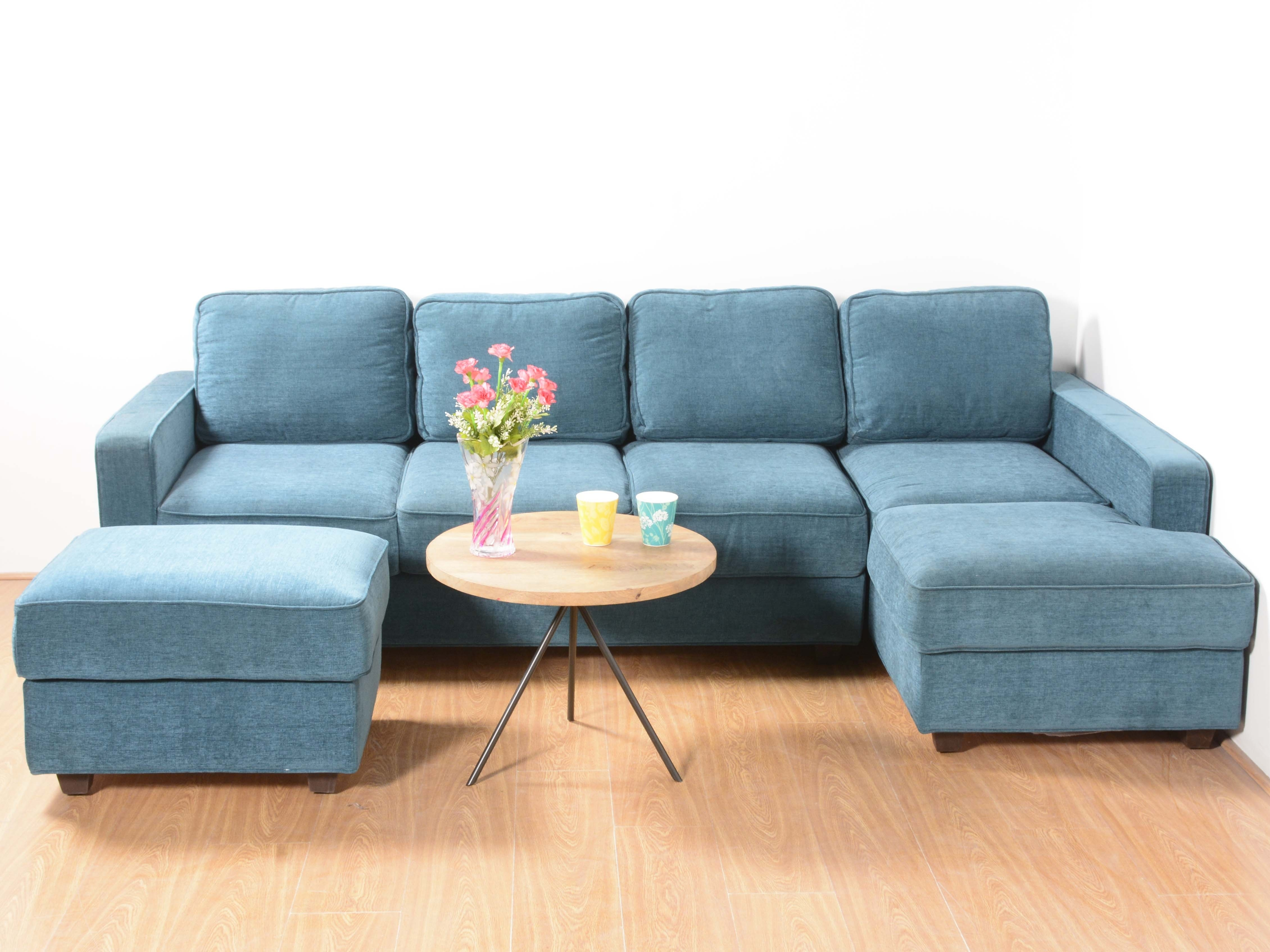 Apollo L-Shape Sectional Sofa With Ottomanurban Ladder: Buy And regarding Sectional Sofas At Bangalore (Image 1 of 15)