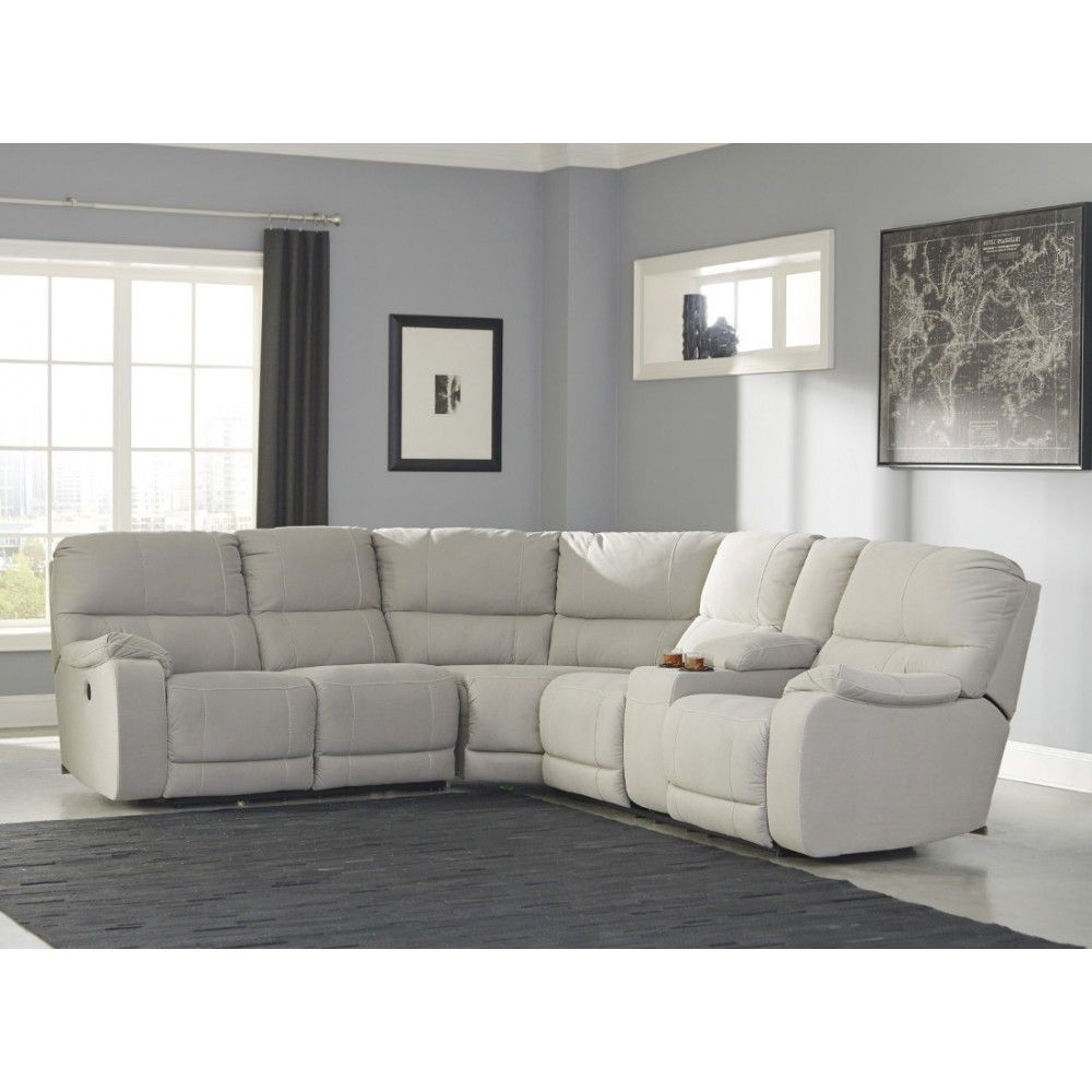Ashley Furniture Bohannon Reclining Power Sectional In Putty | Space Throughout Eau Claire Wi Sectional Sofas (View 9 of 10)