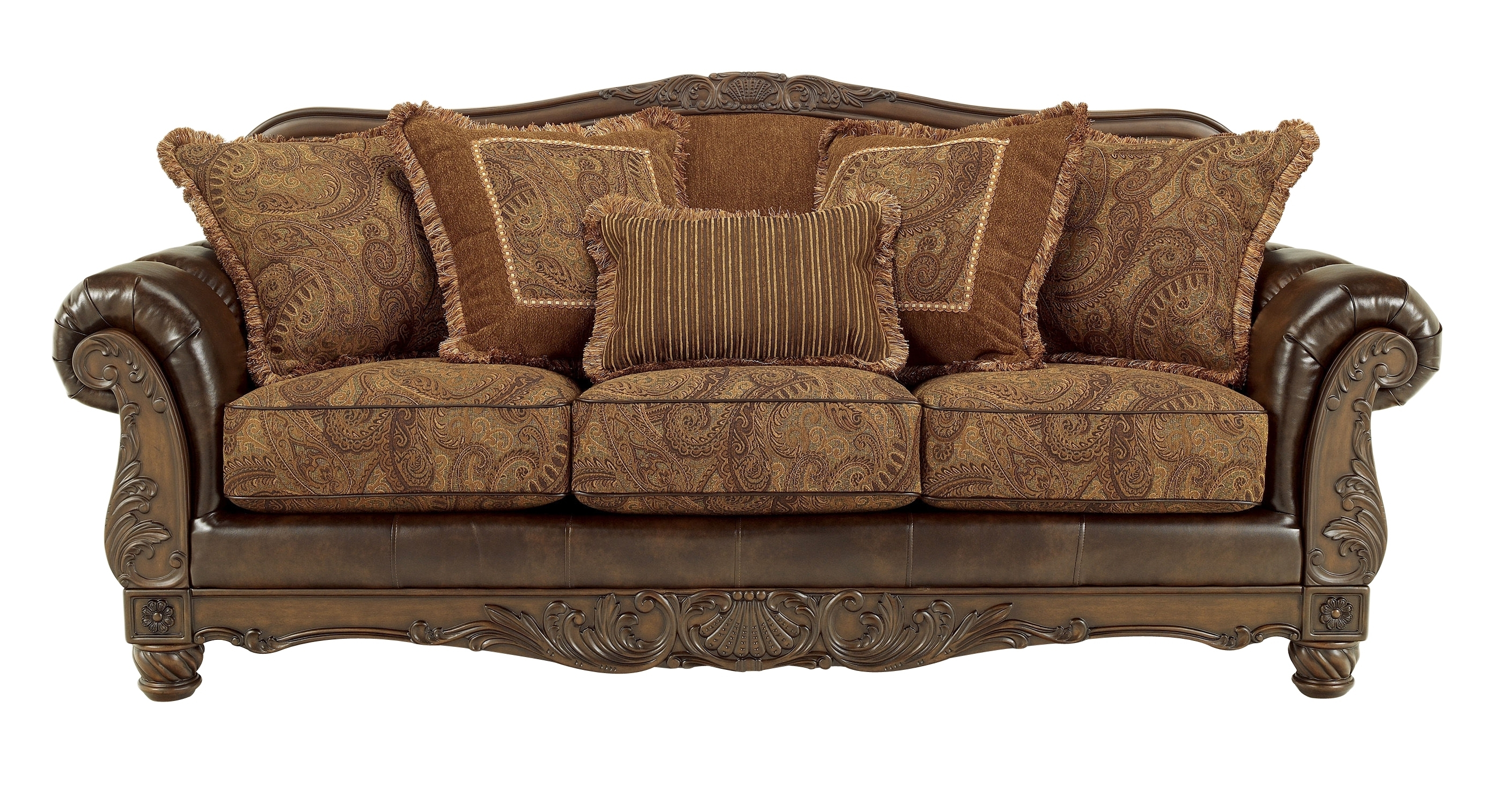 Ashley Furniture Fresco Durablend Antique Sofa | The Classy Home in Antique Sofas (Image 5 of 10)