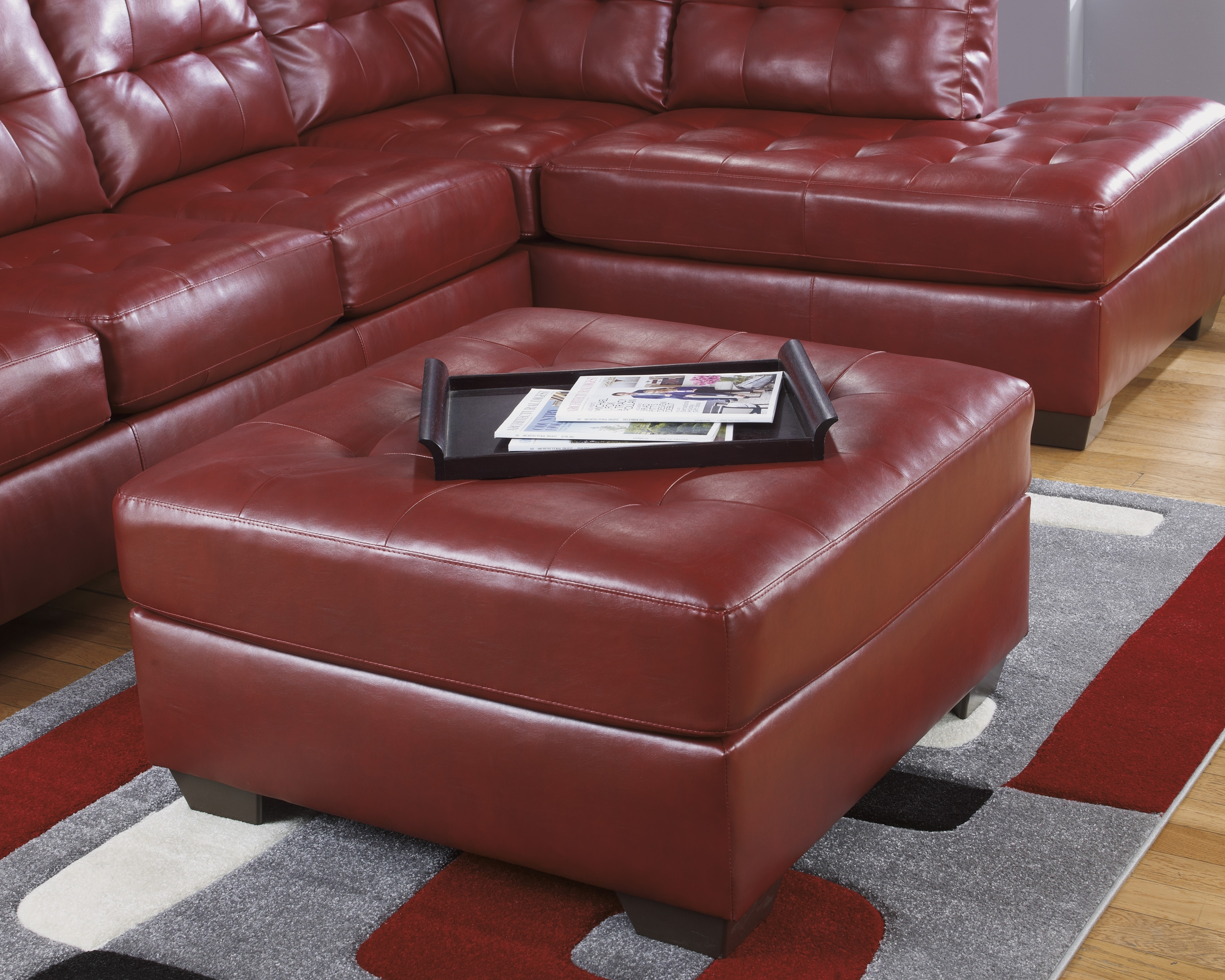 Ashley Furniture Leather Sectionals, Ashley Furniture Sofa Sleepers within Red Leather Sectionals With Ottoman (Image 2 of 15)