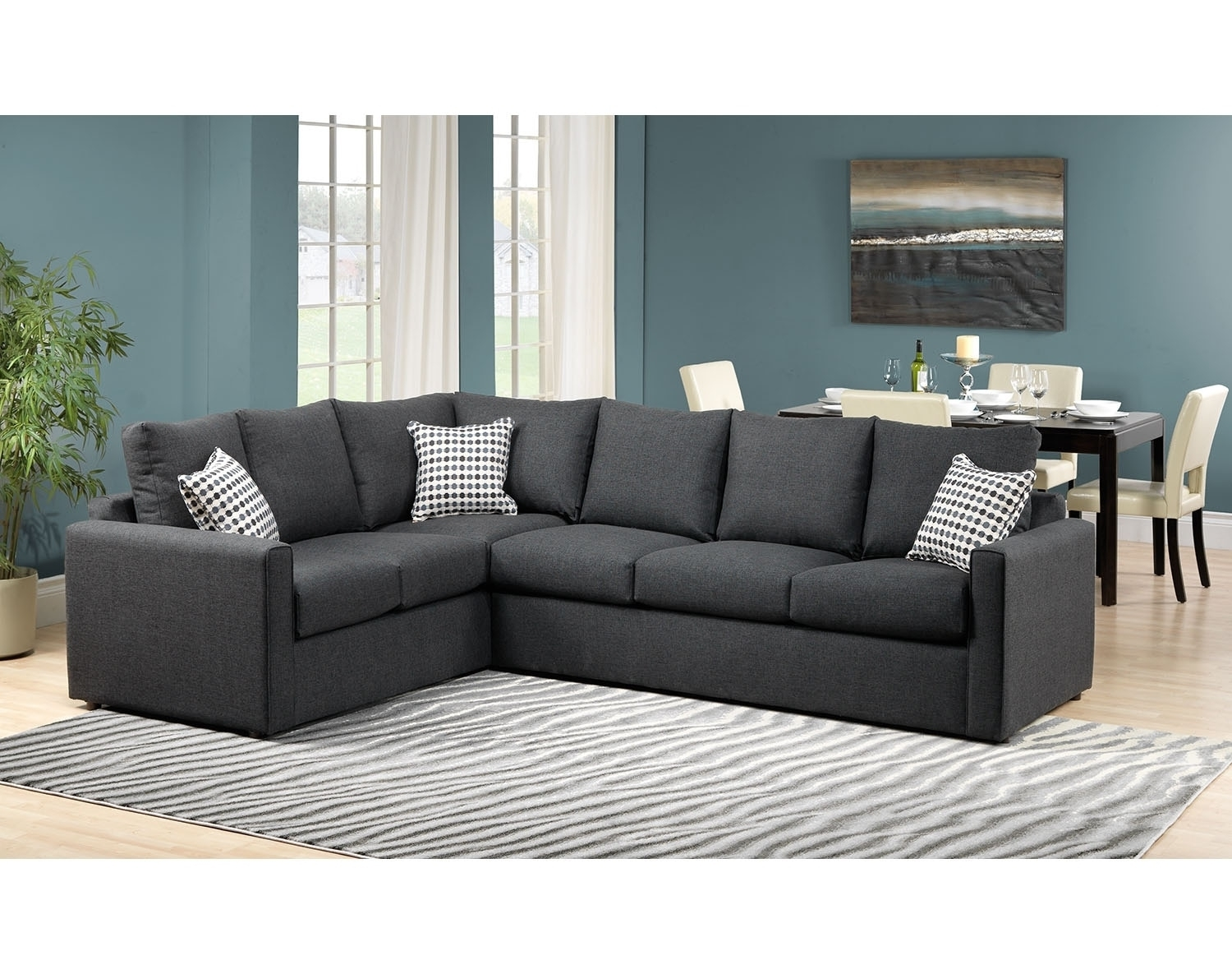 Athina 2-Piece Sectional With Right-Facing Queen Sofa Bed - Charcoal in Sectional Sofas at Brampton (Image 2 of 15)