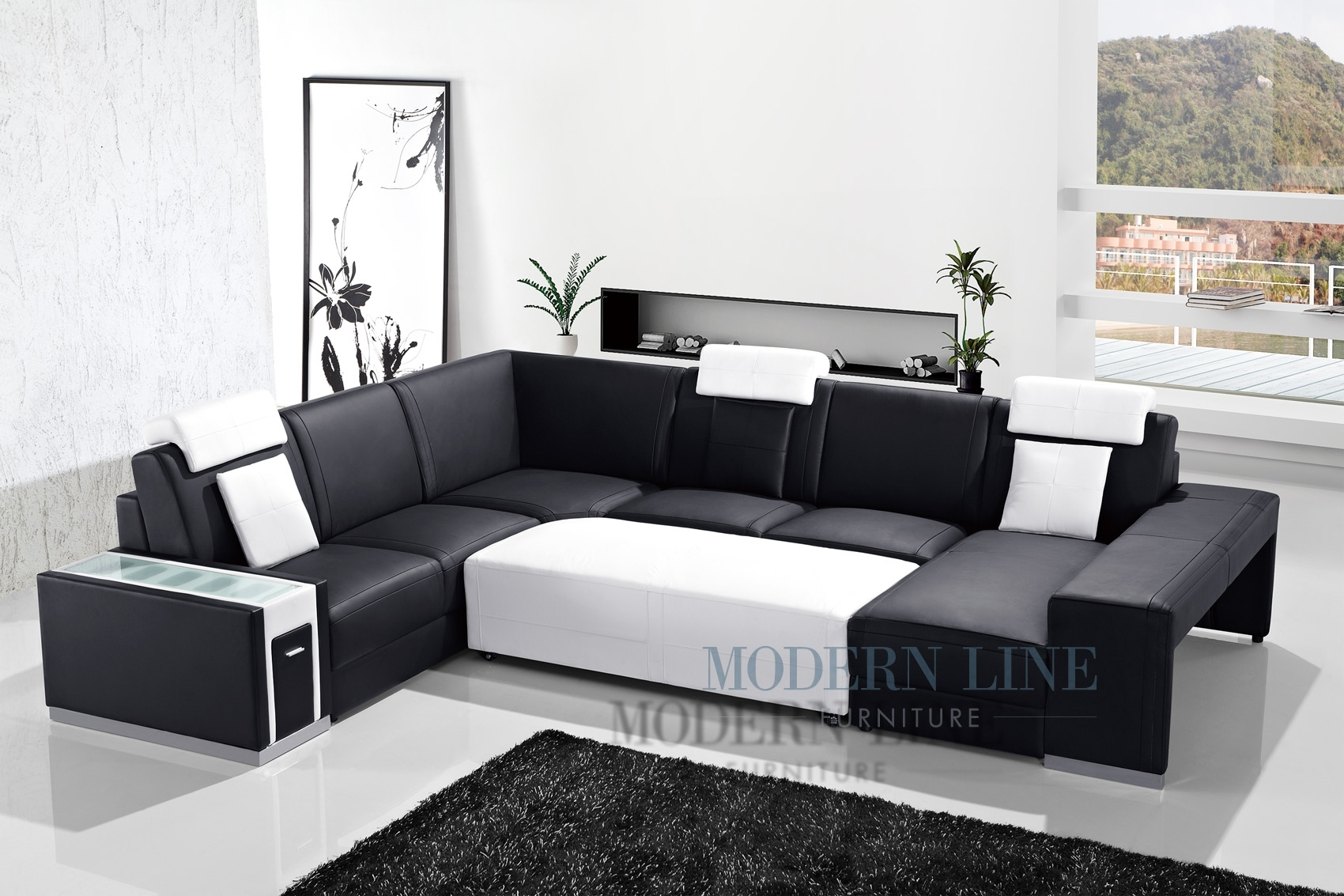 Awesome Black Leather Sectional With Ottoman Ideas - Liltigertoo inside Black Leather Sectionals With Ottoman (Image 2 of 15)